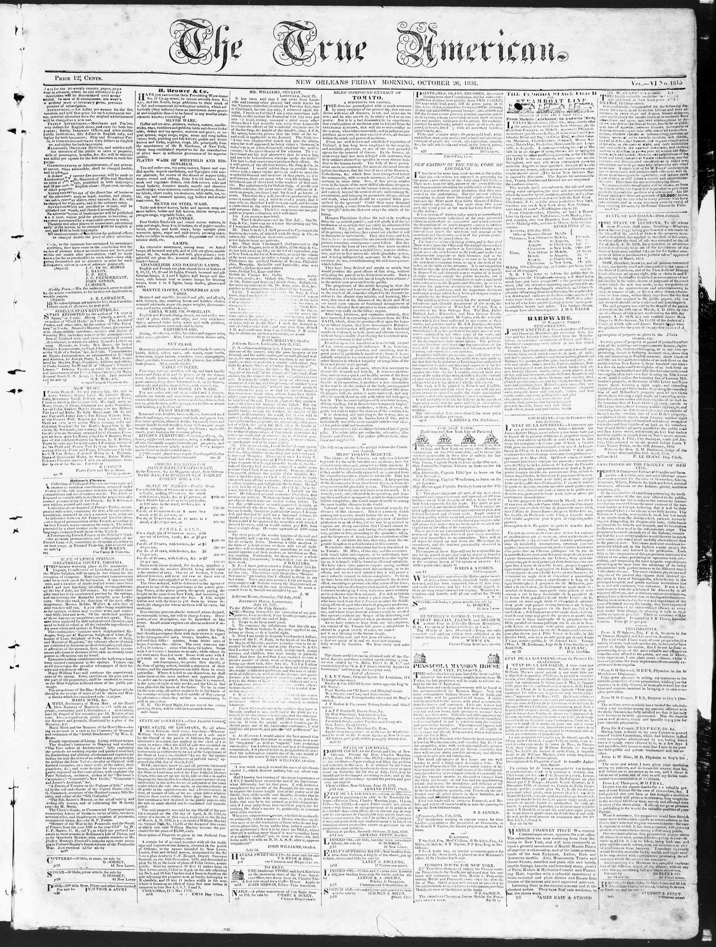 October 26, 1838 Tarihli True American Gazetesi Sayfa 1