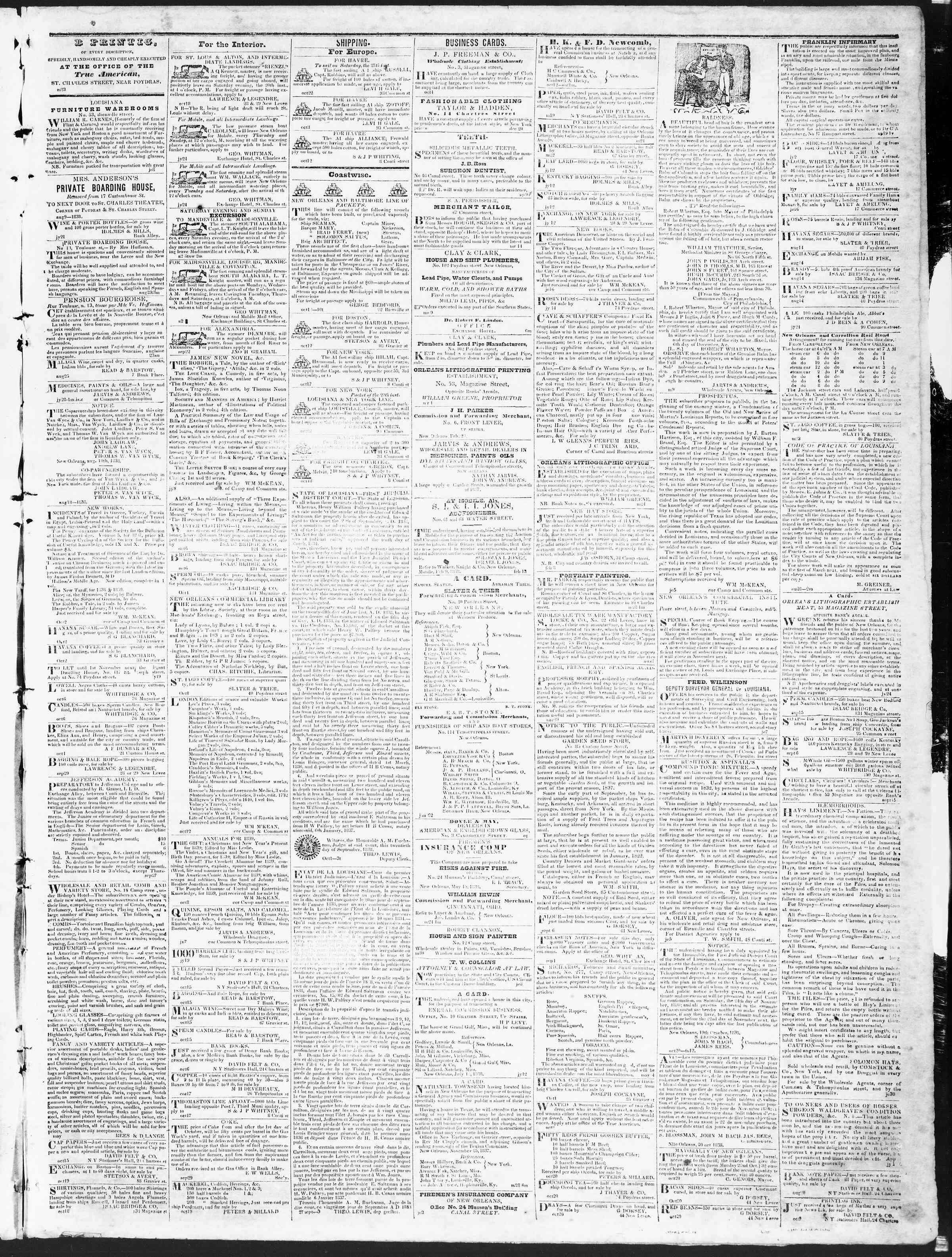 October 26, 1838 Tarihli True American Gazetesi Sayfa 3