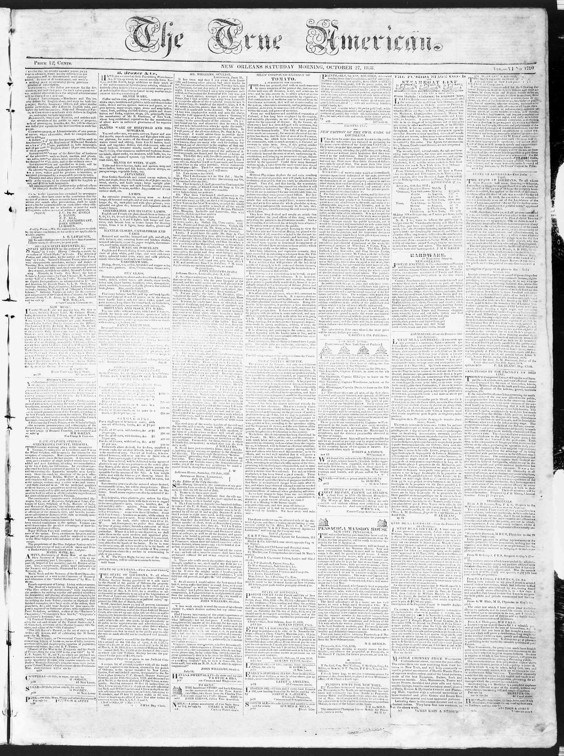 Newspaper of True American dated October 27, 1838 Page 1