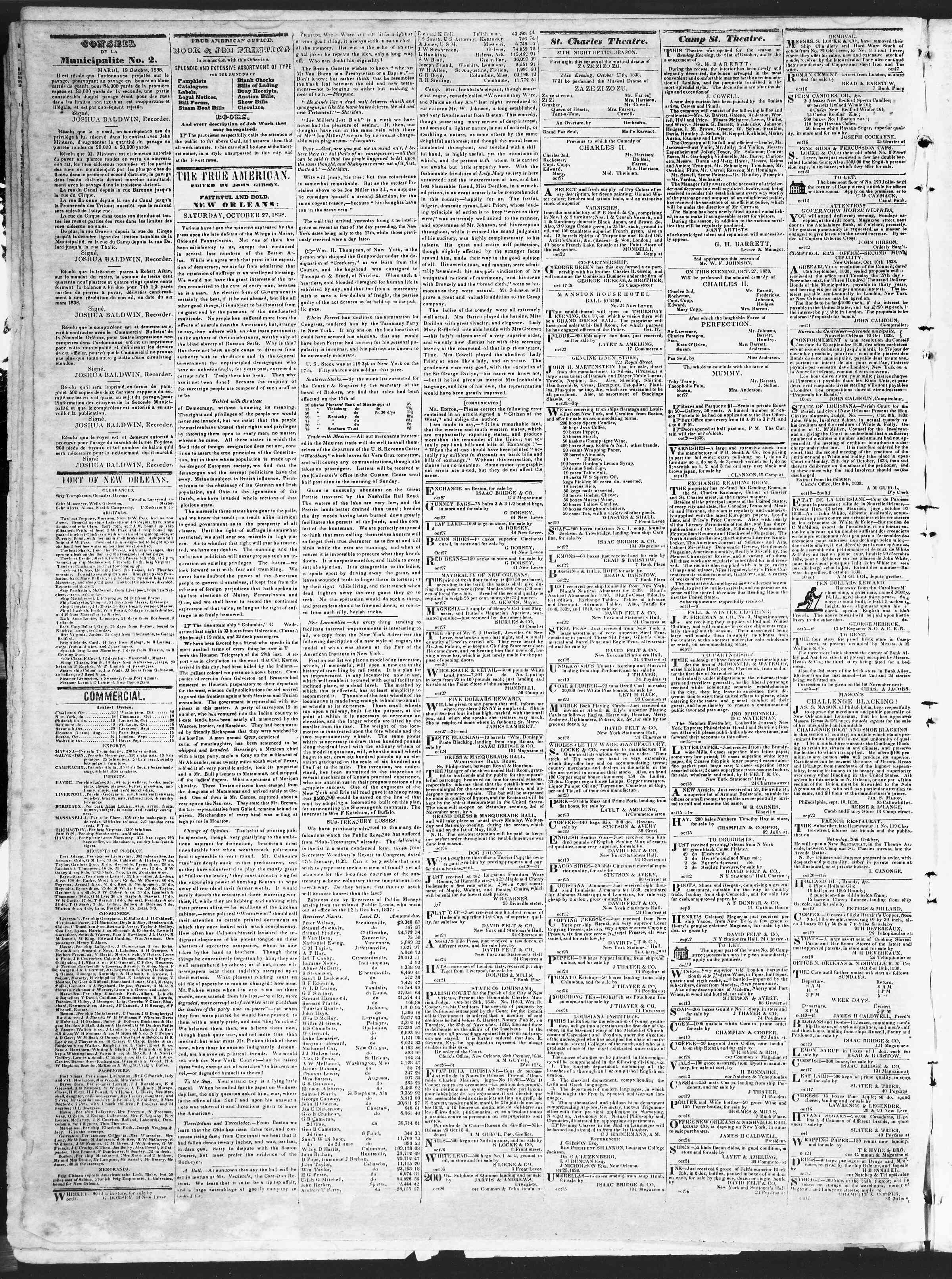 October 27, 1838 Tarihli True American Gazetesi Sayfa 2