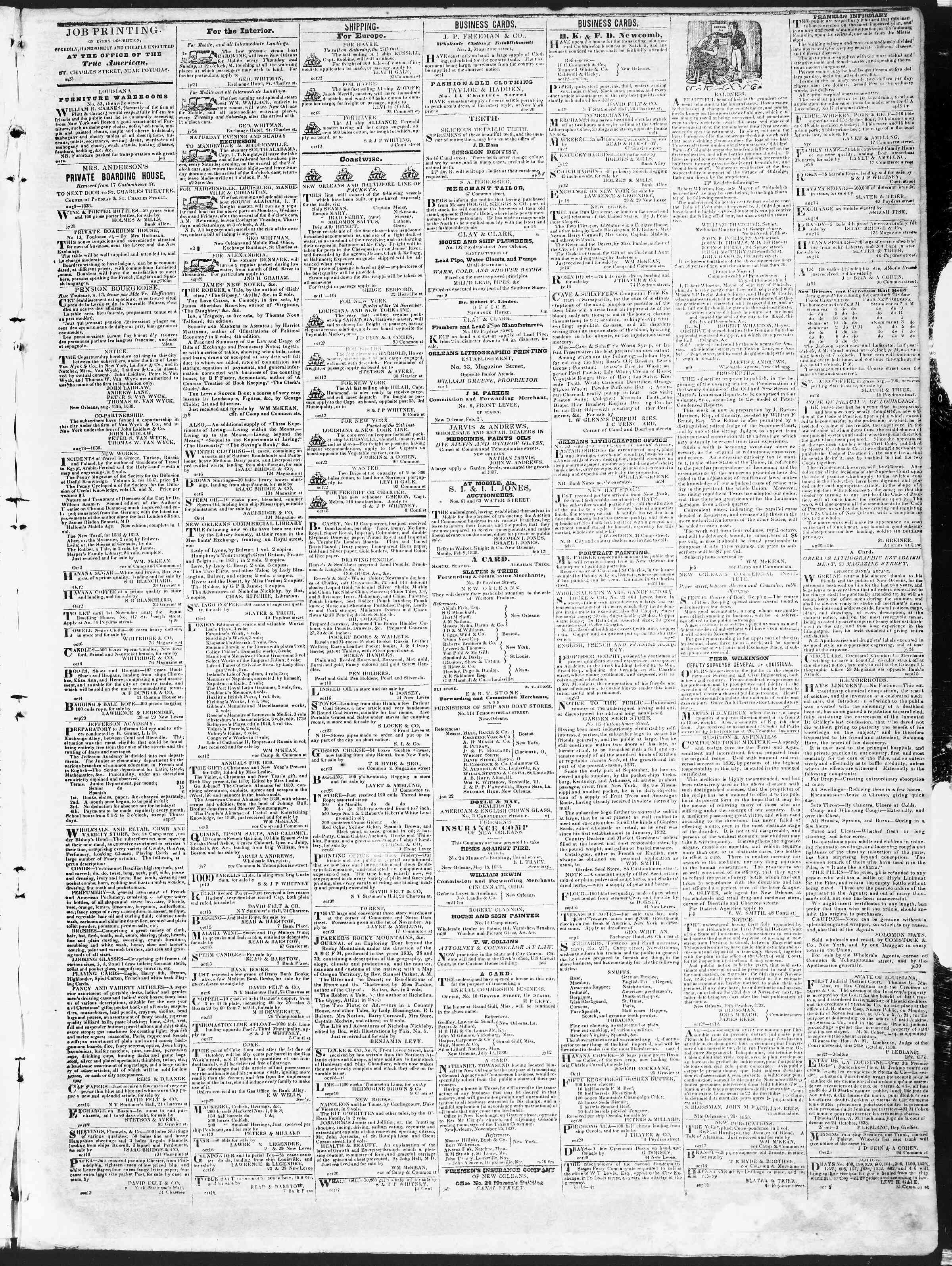 October 27, 1838 Tarihli True American Gazetesi Sayfa 3