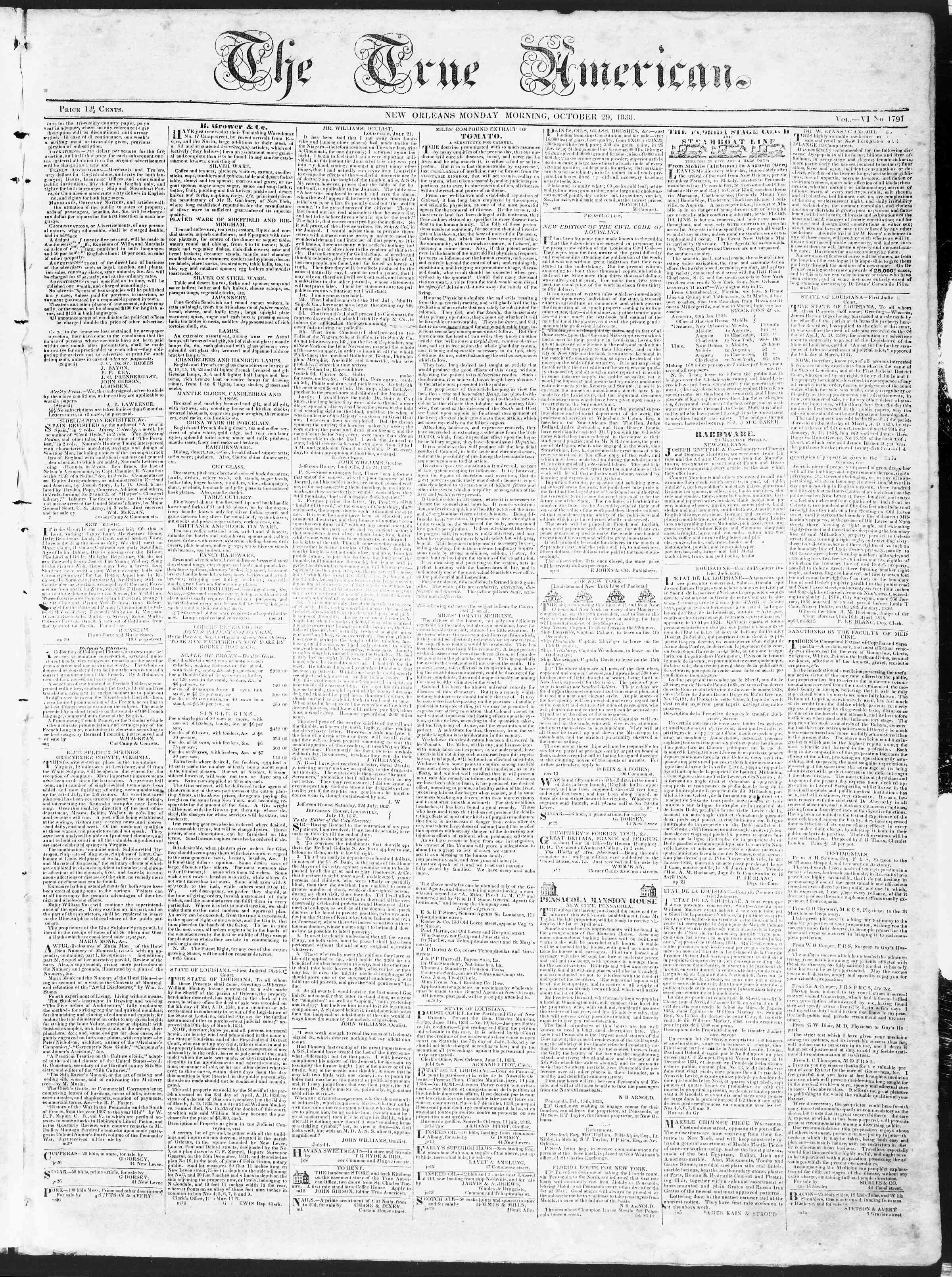 Newspaper of True American dated October 29, 1838 Page 1