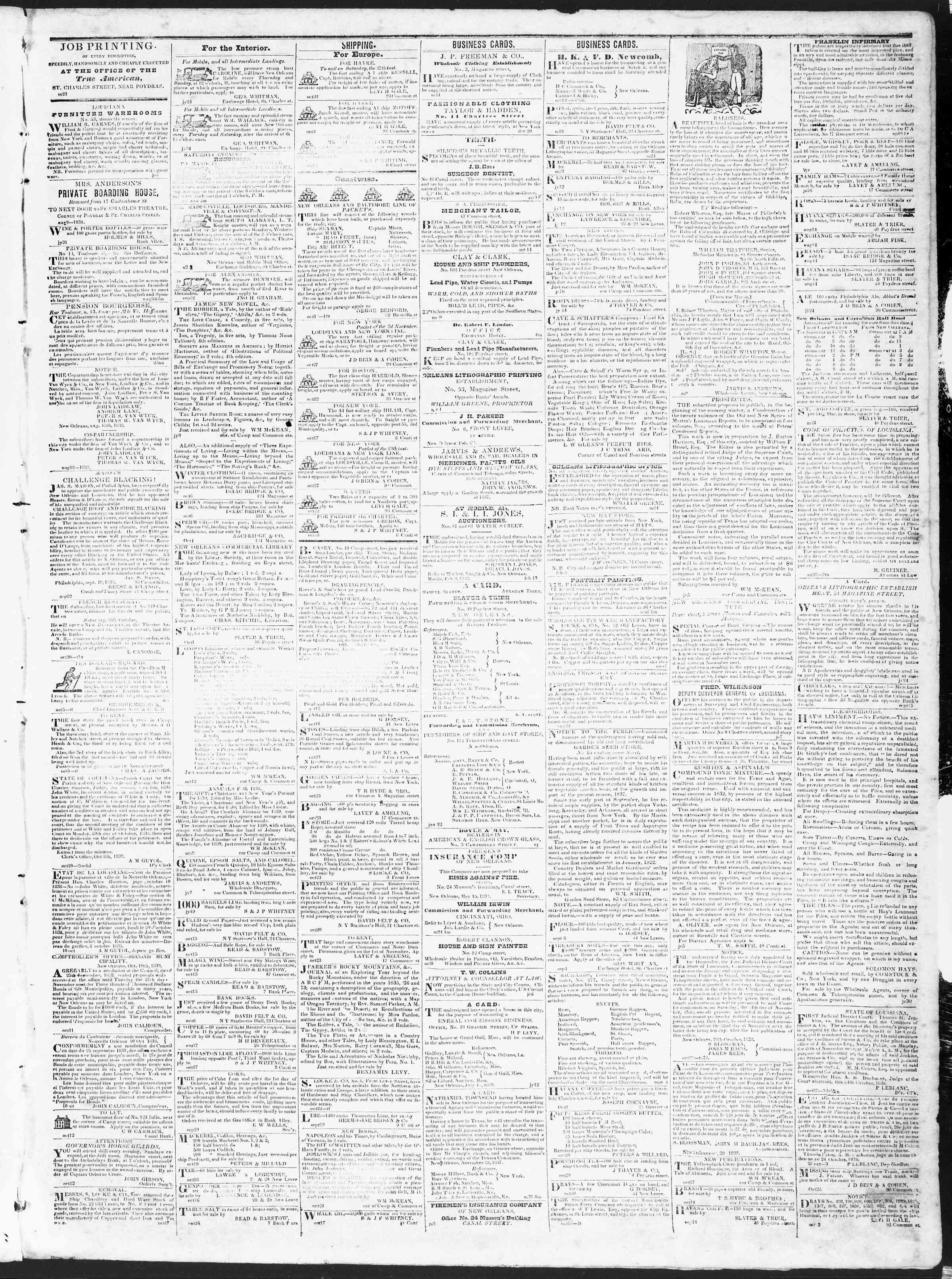 October 29, 1838 Tarihli True American Gazetesi Sayfa 3