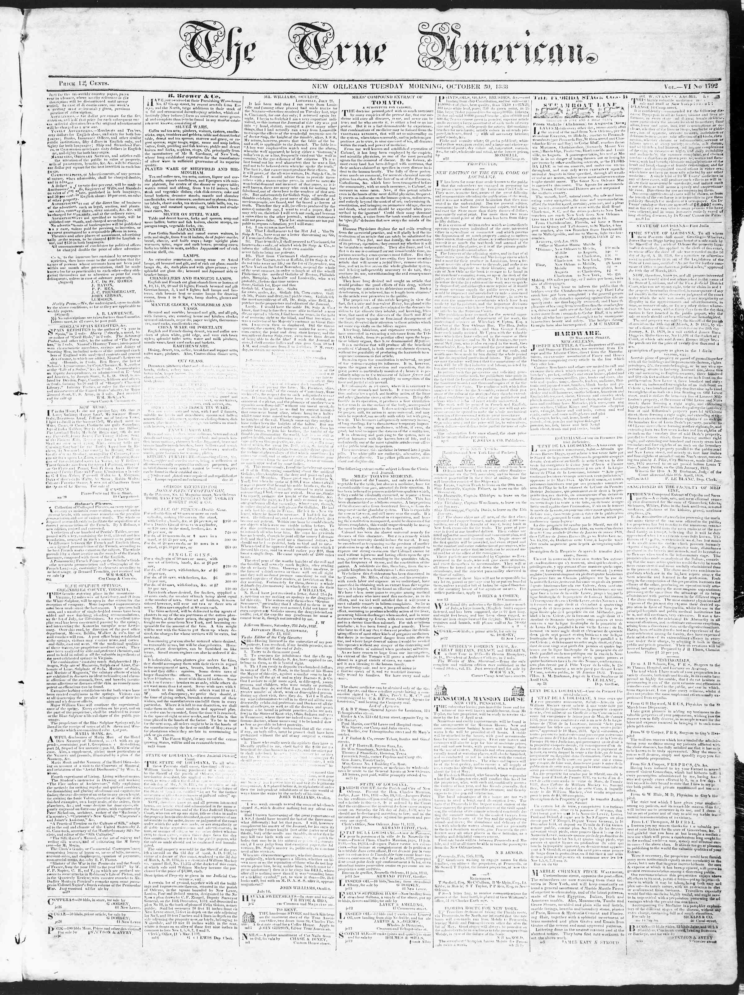 October 30, 1838 Tarihli True American Gazetesi Sayfa 1