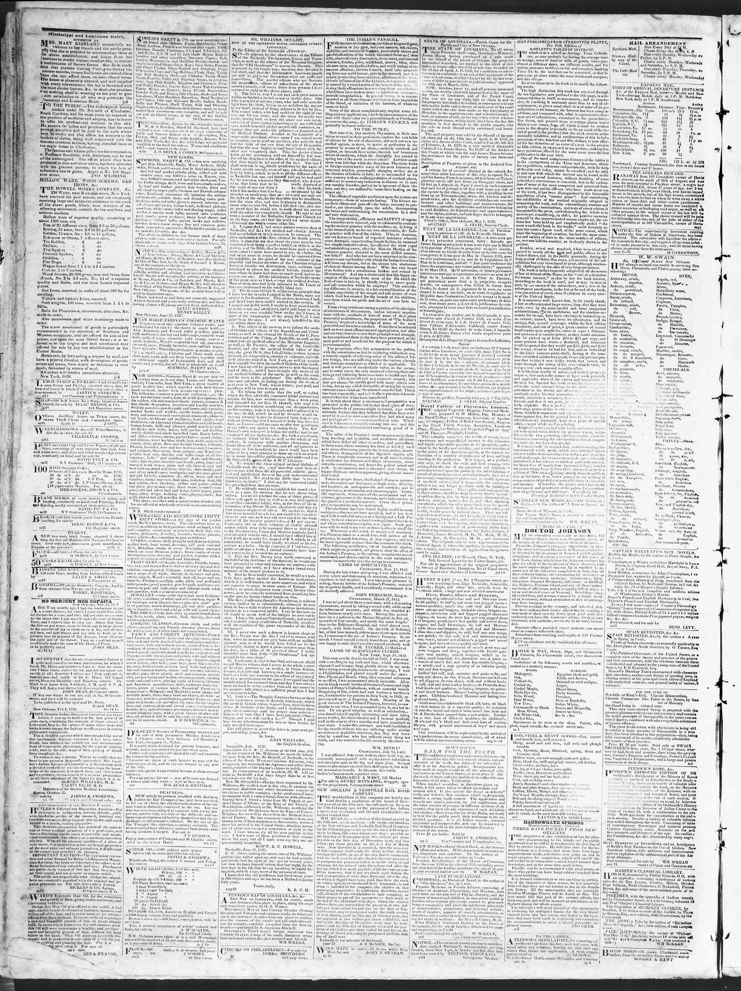 October 30, 1838 Tarihli True American Gazetesi Sayfa 4