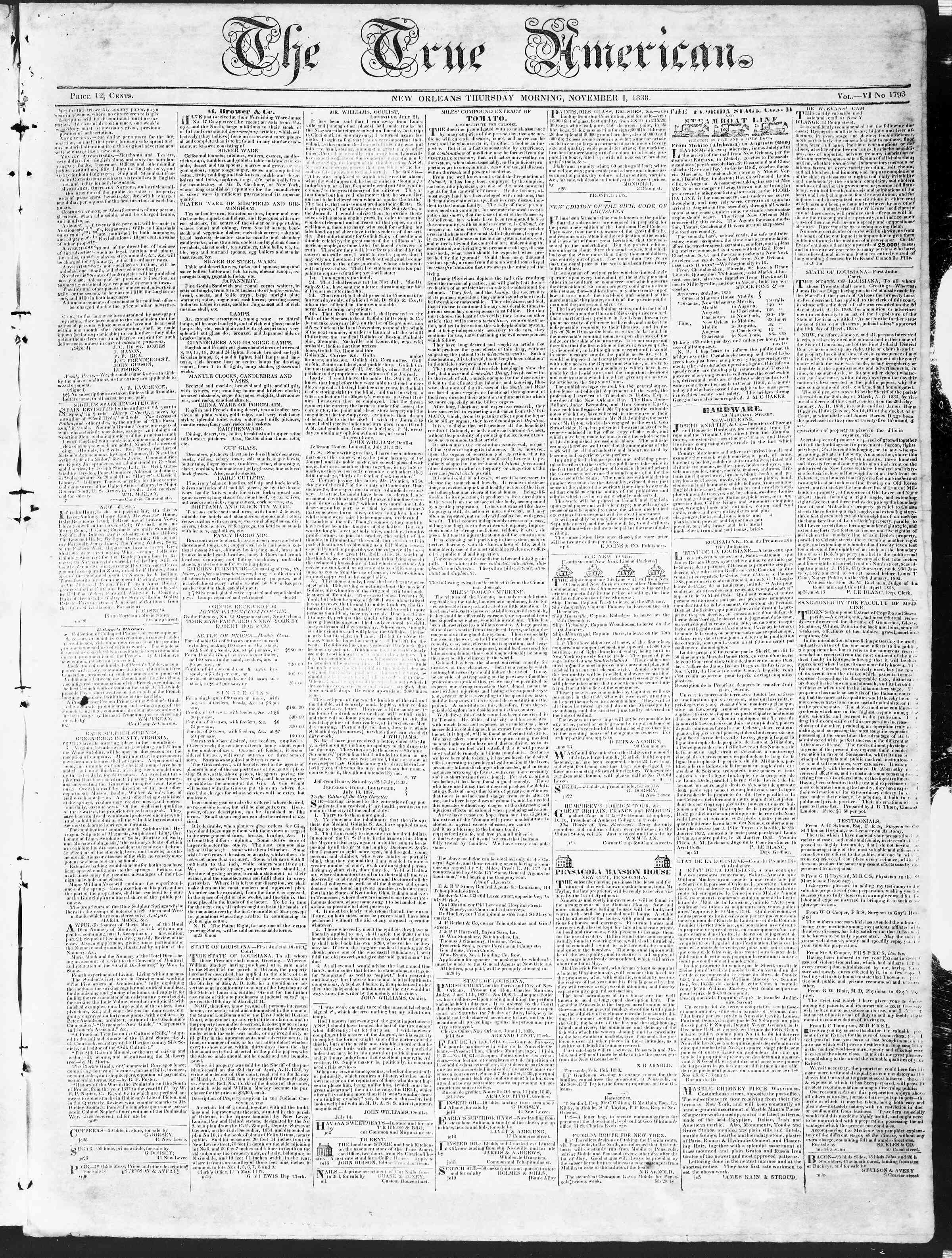 Newspaper of True American dated November 1, 1838 Page 1