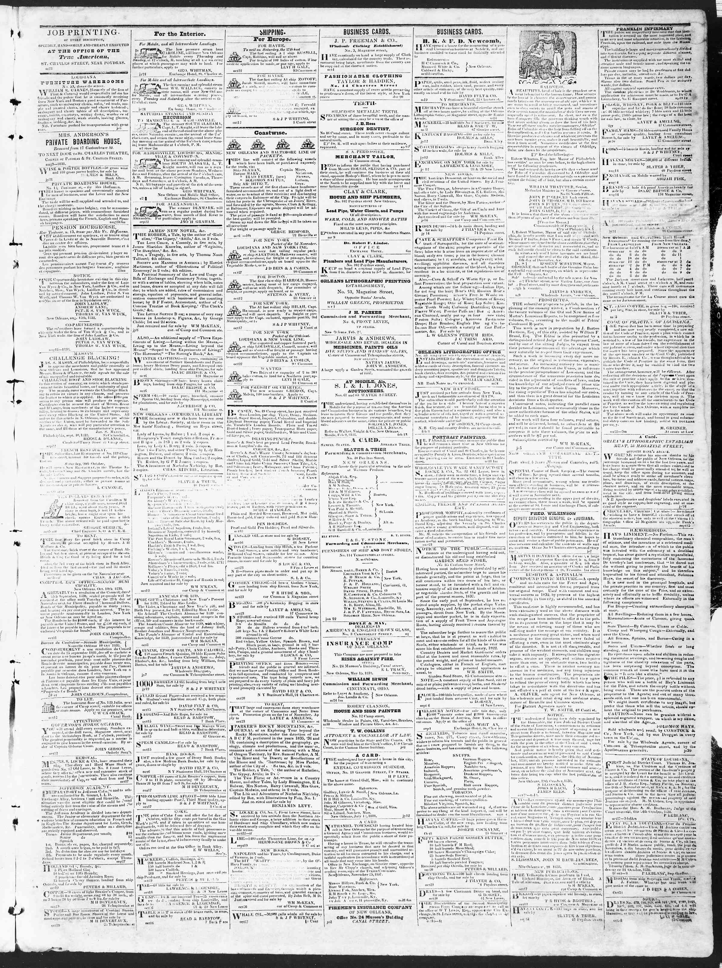 November 1, 1838 Tarihli True American Gazetesi Sayfa 3