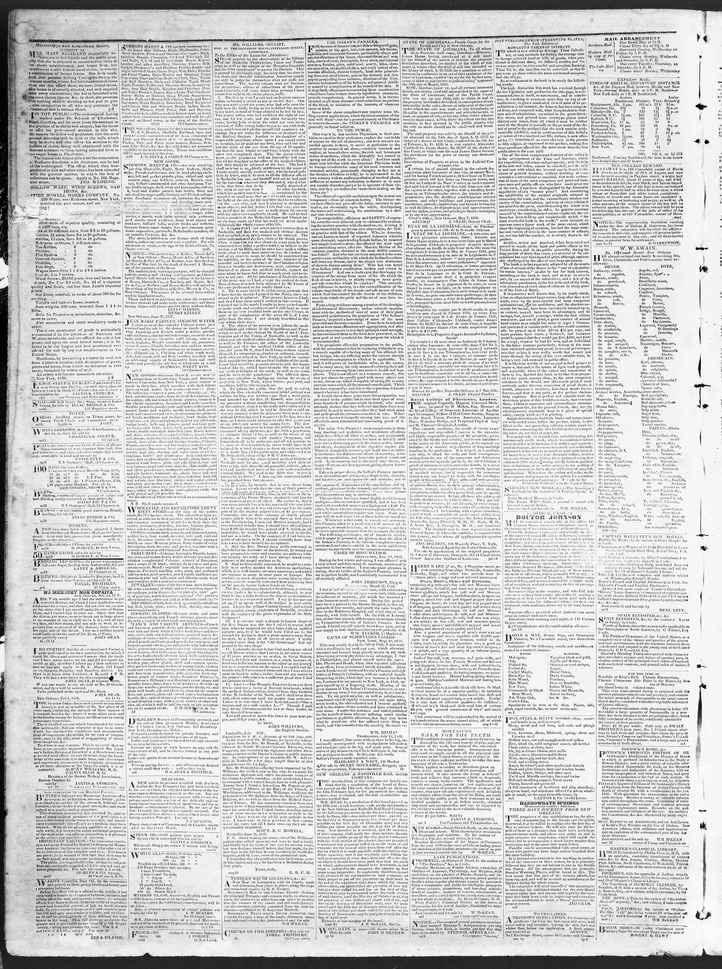 November 1, 1838 Tarihli True American Gazetesi Sayfa 4