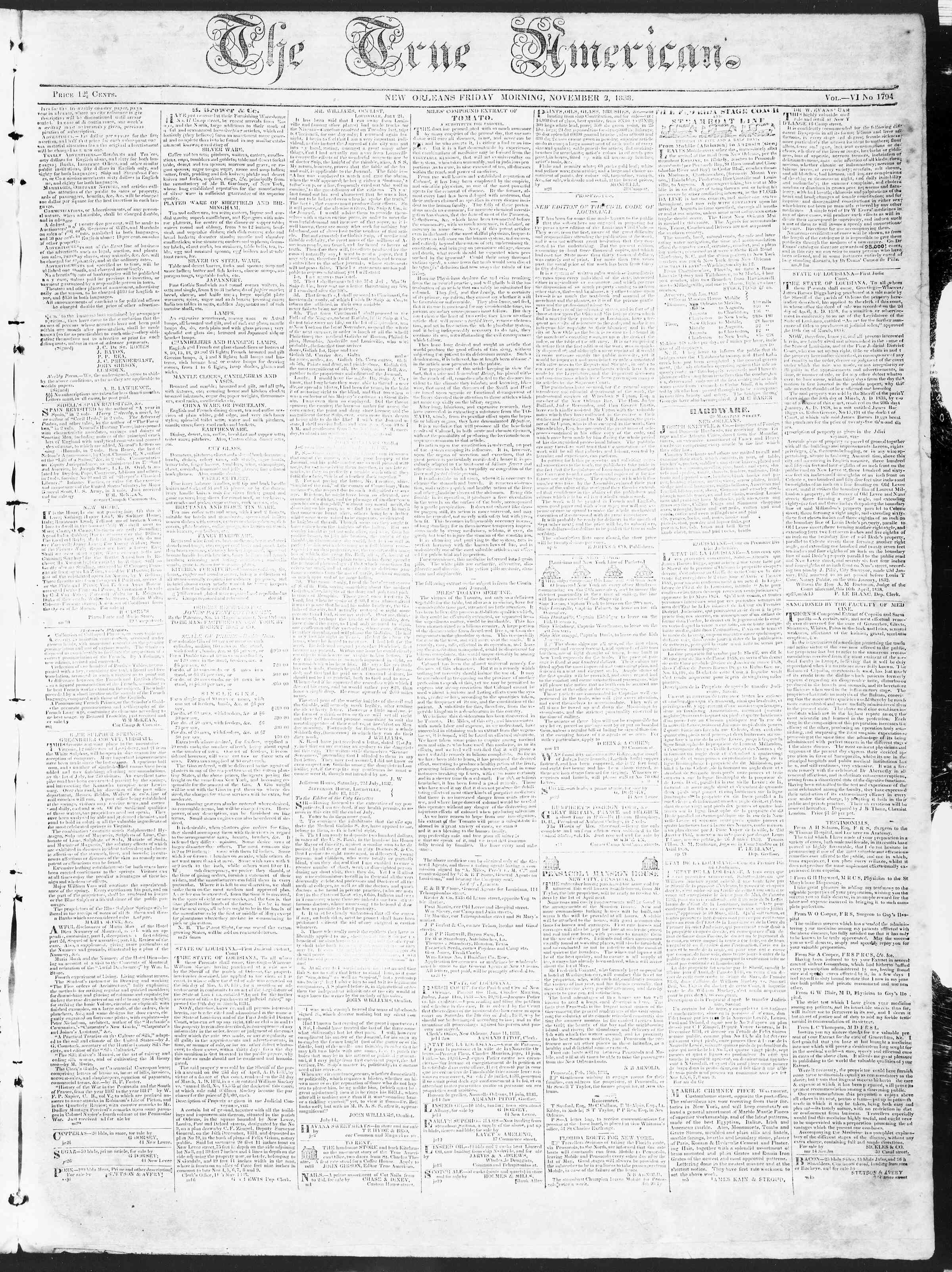 November 2, 1838 Tarihli True American Gazetesi Sayfa 1