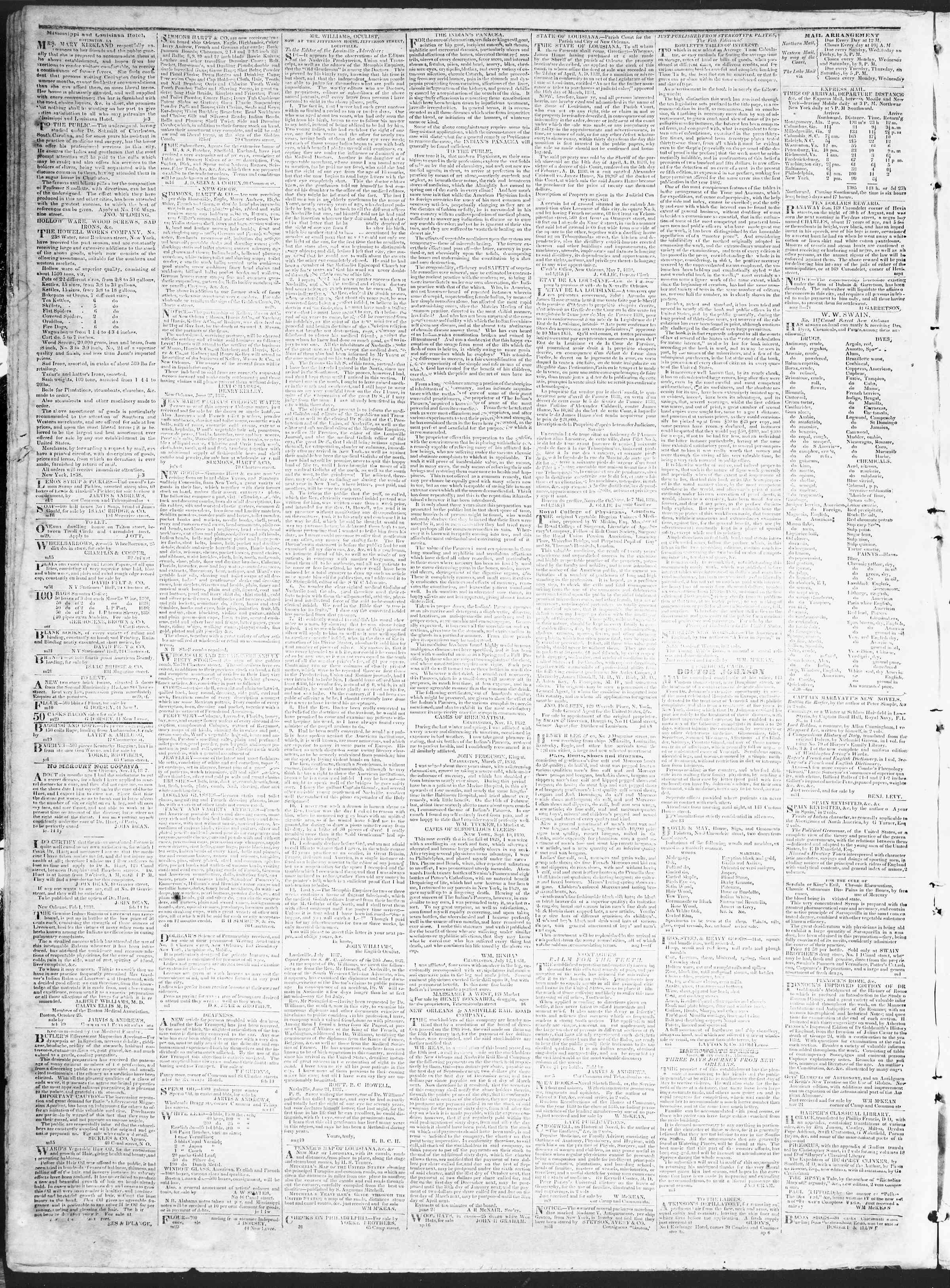 November 2, 1838 Tarihli True American Gazetesi Sayfa 4