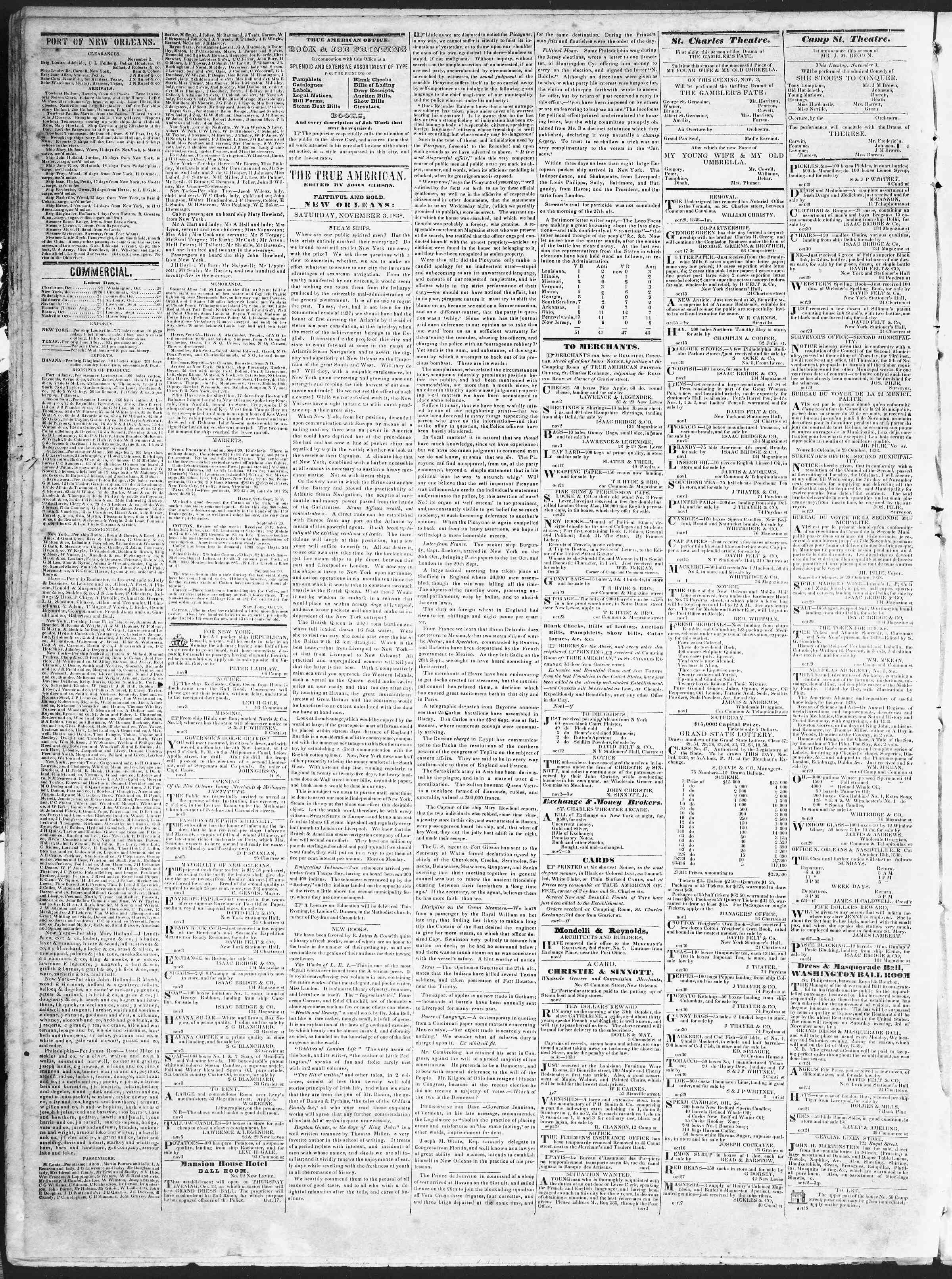 Newspaper of True American dated November 3, 1838 Page 2