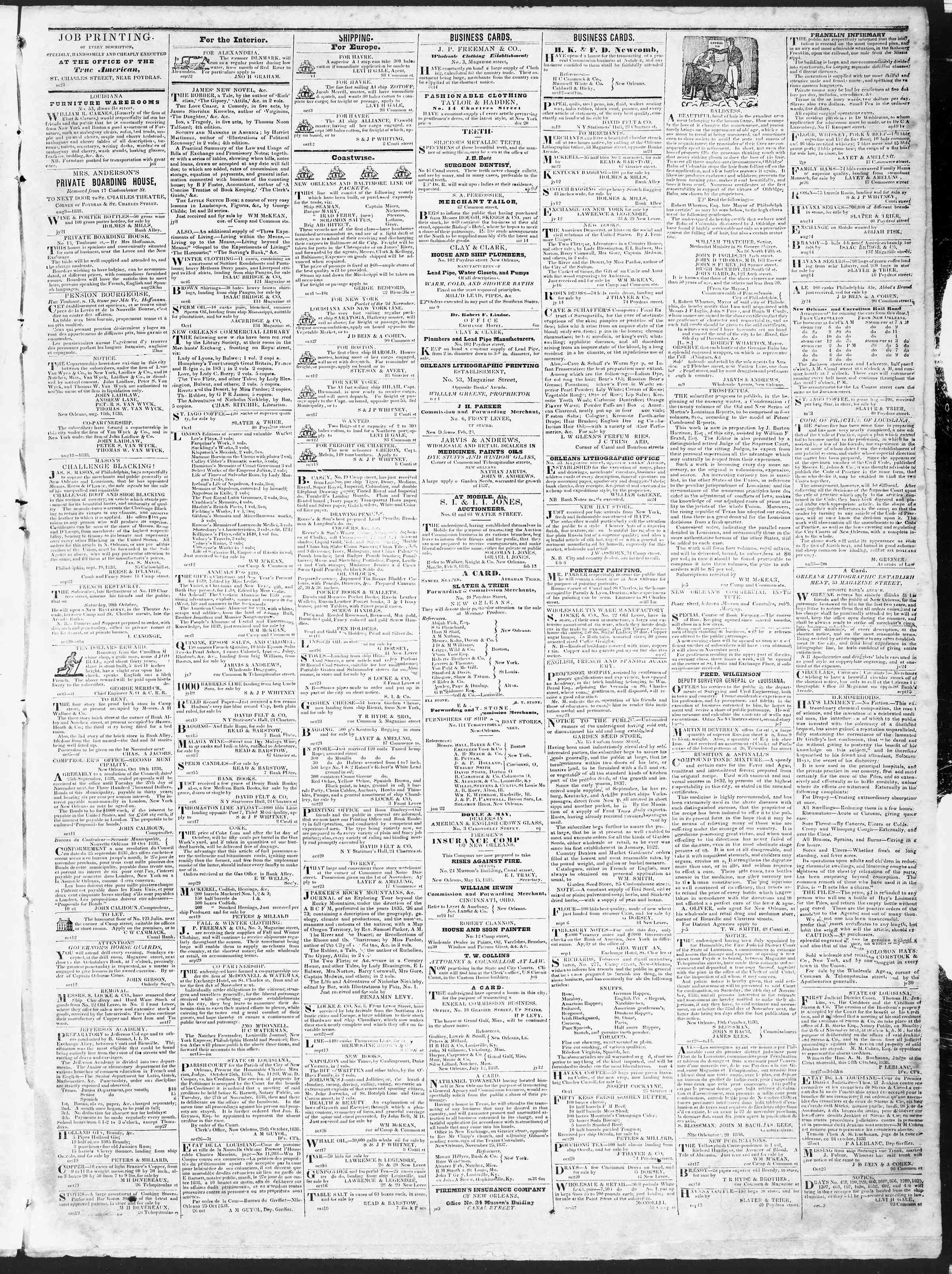 Newspaper of True American dated November 3, 1838 Page 3