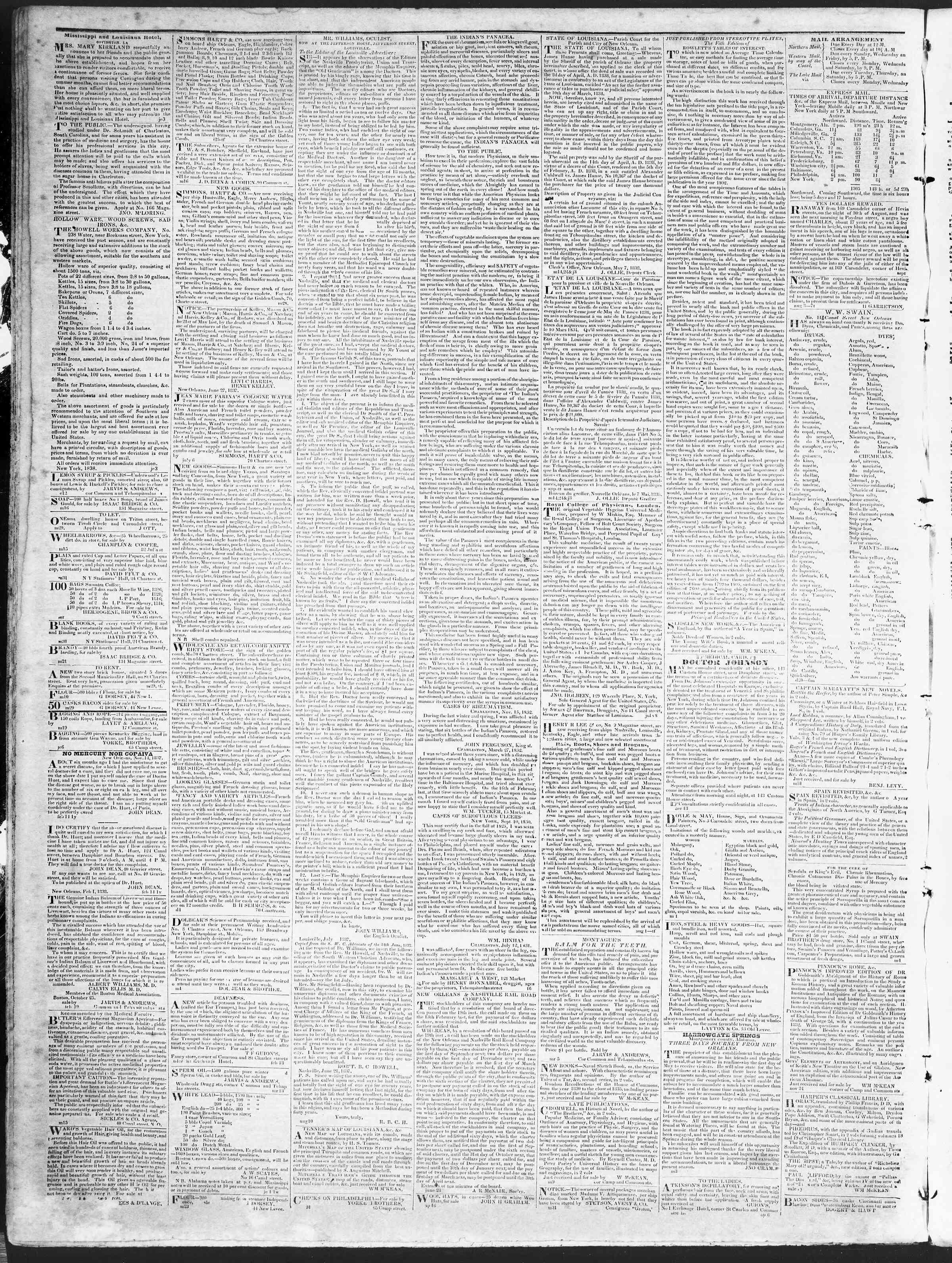 5 Kasım 1838 Tarihli True American Gazetesi Sayfa 4