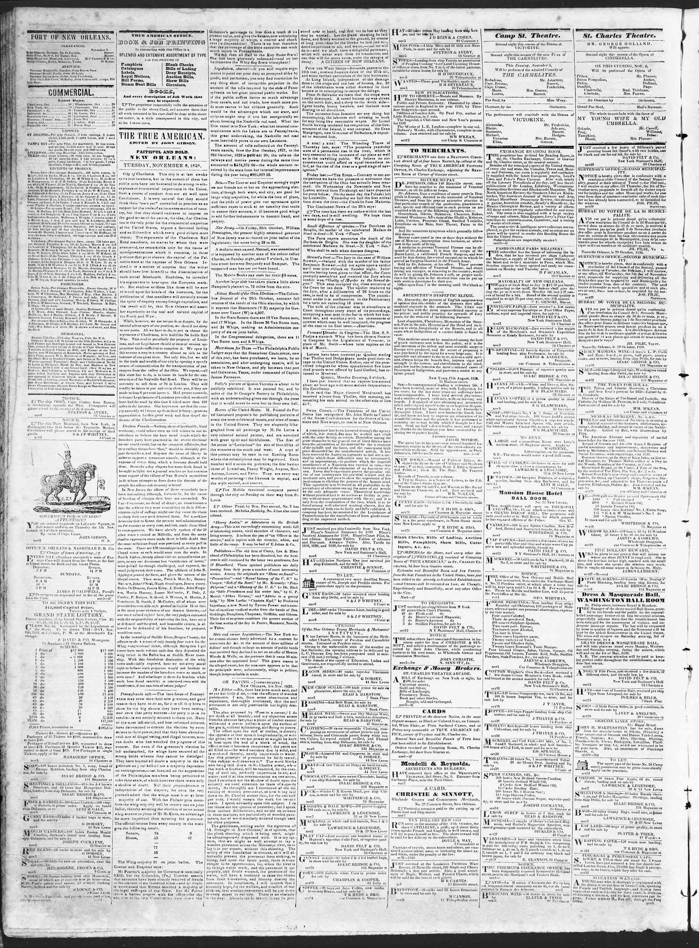November 6, 1838 Tarihli True American Gazetesi Sayfa 2