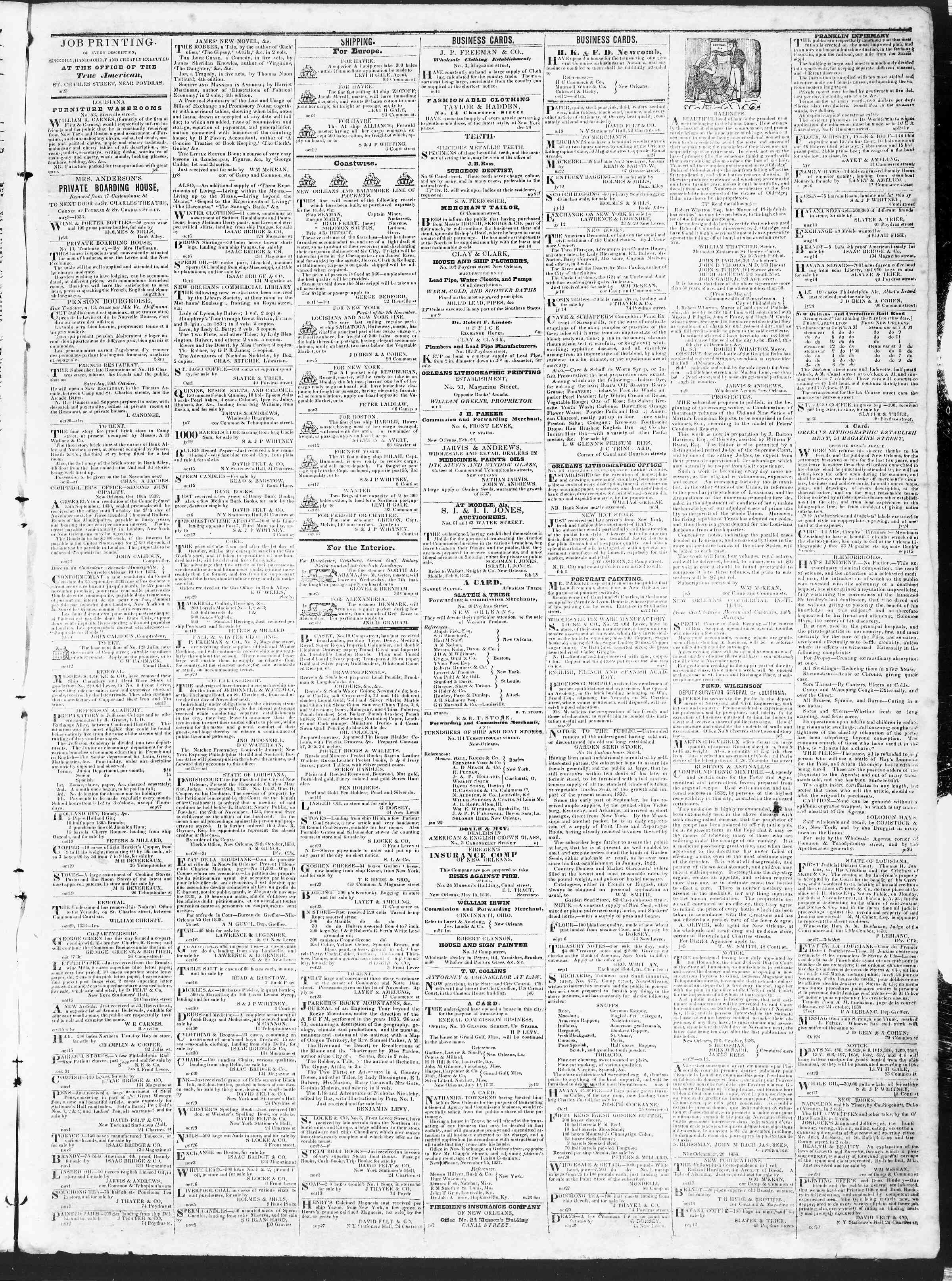 Newspaper of True American dated November 6, 1838 Page 3