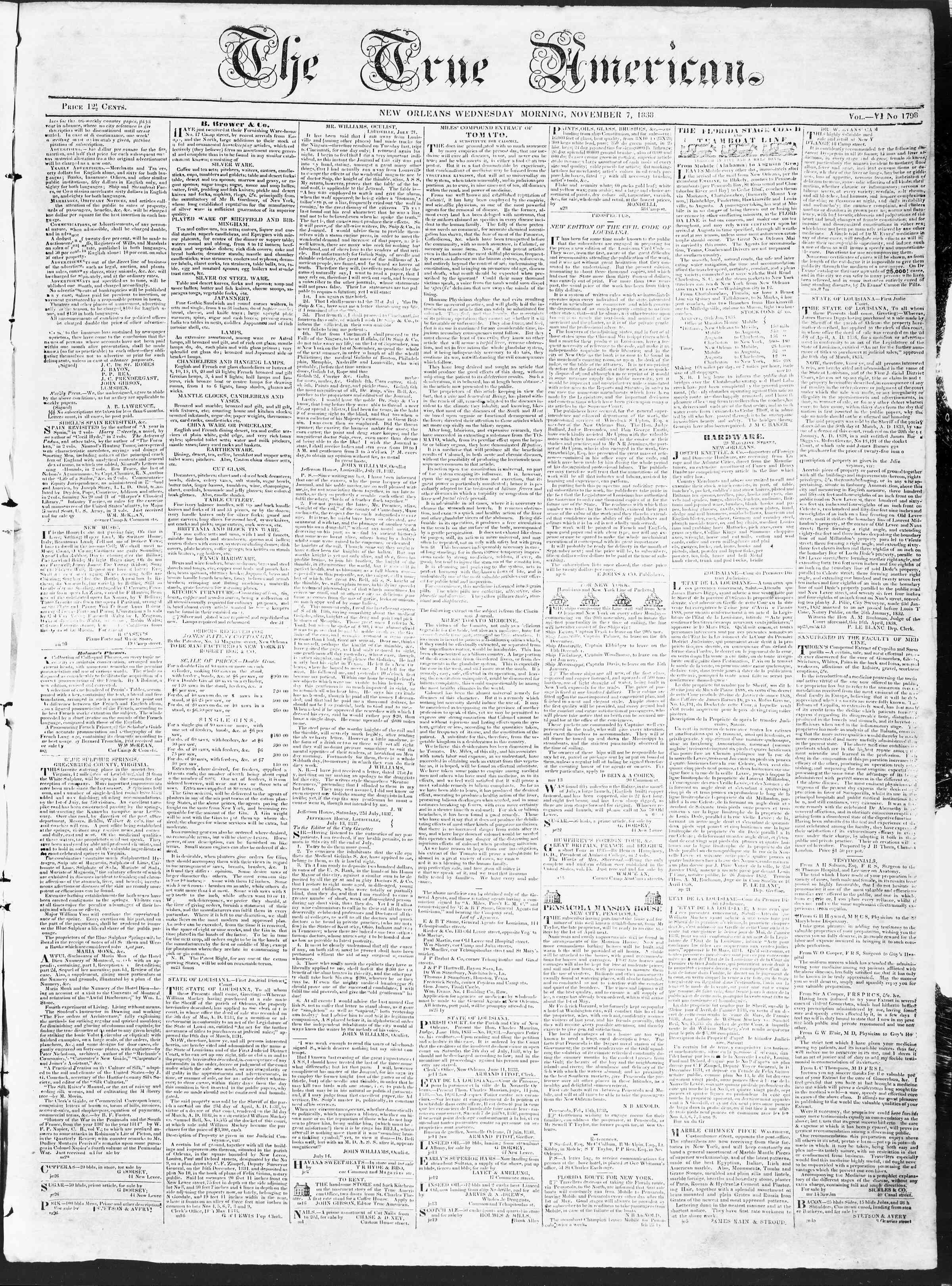 November 7, 1838 Tarihli True American Gazetesi Sayfa 1