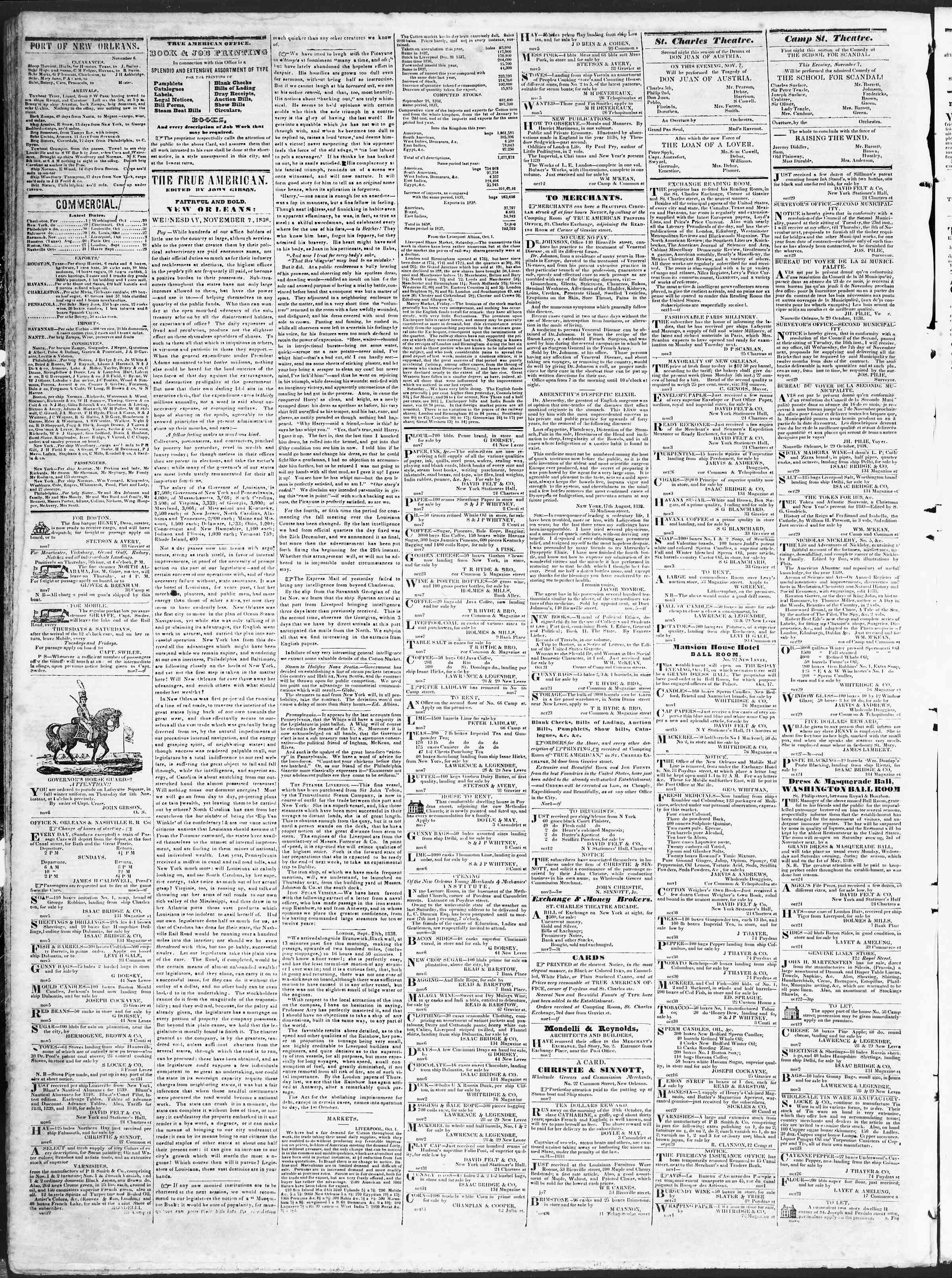 November 7, 1838 Tarihli True American Gazetesi Sayfa 2