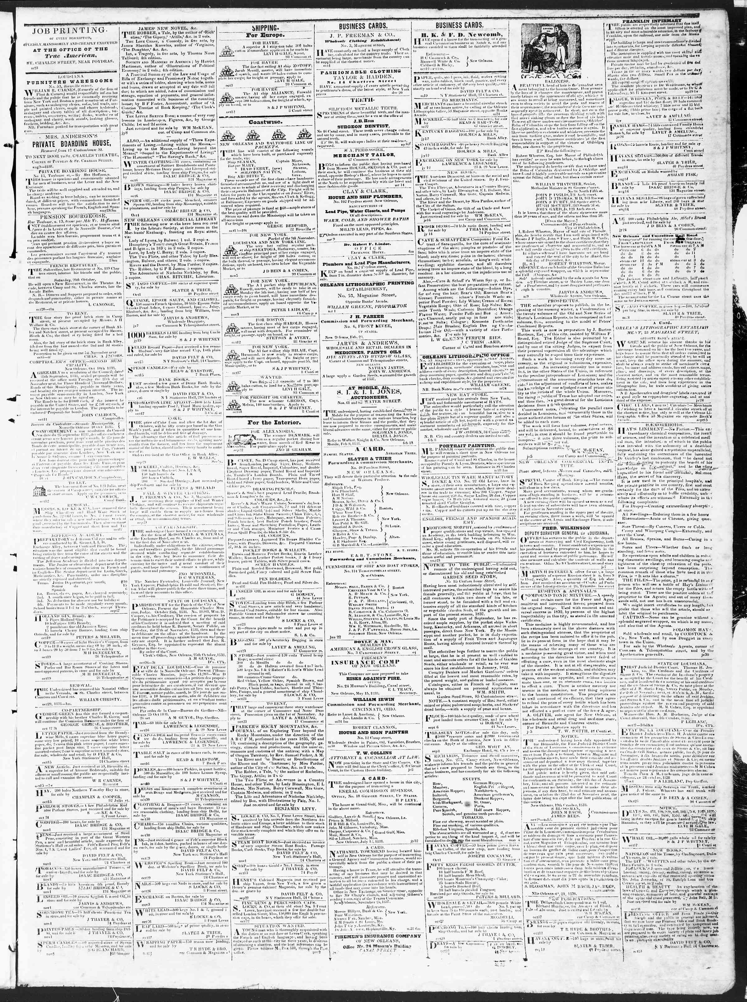 Newspaper of True American dated November 7, 1838 Page 3