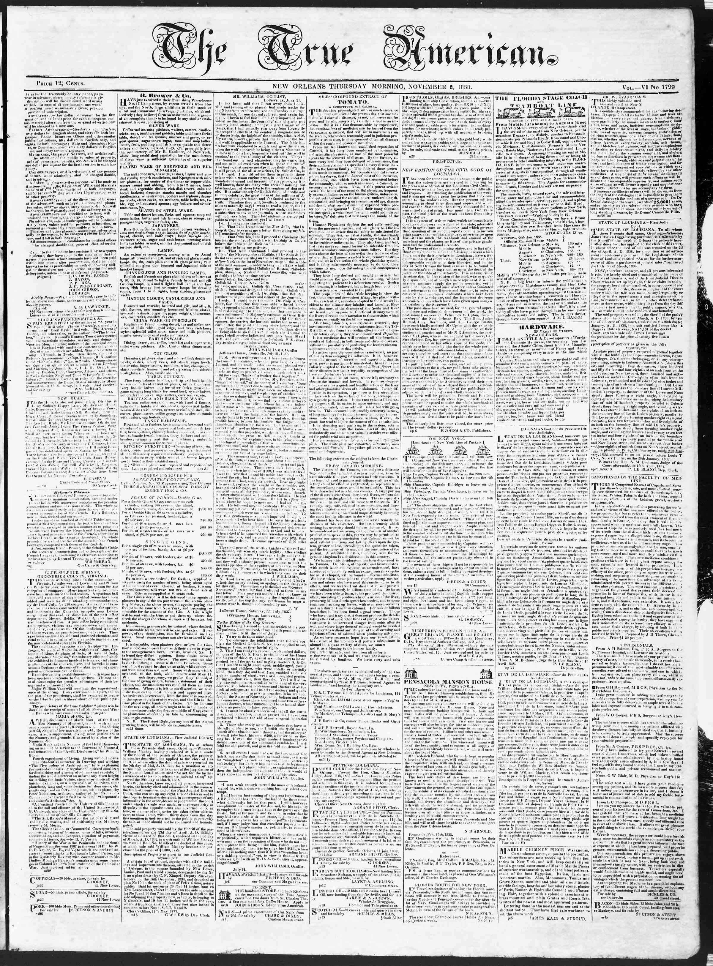 November 8, 1838 Tarihli True American Gazetesi Sayfa 1