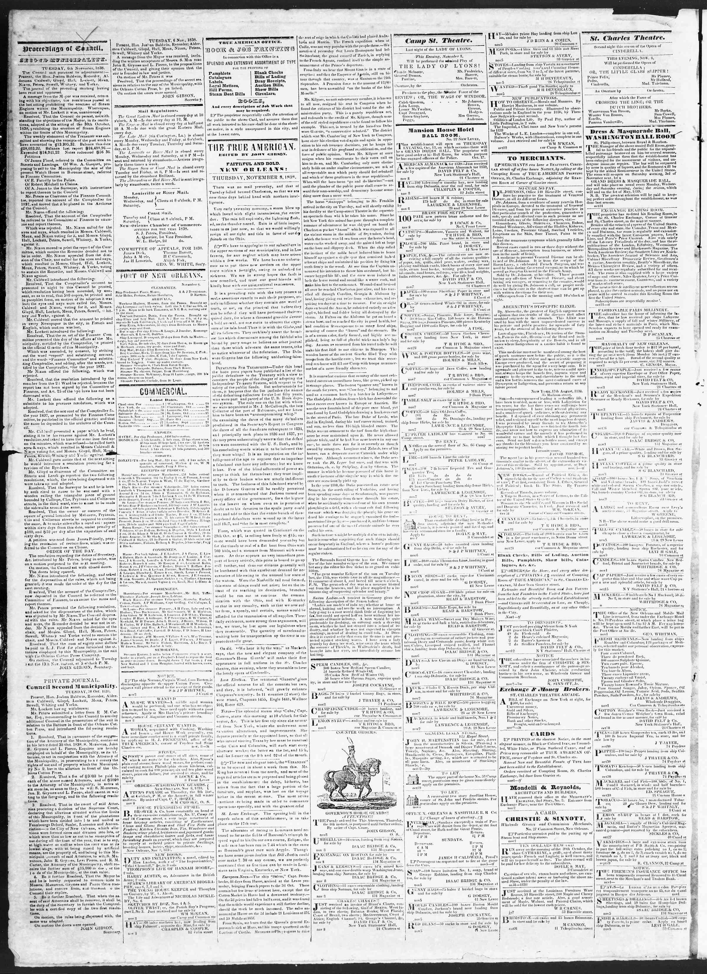 November 8, 1838 Tarihli True American Gazetesi Sayfa 2