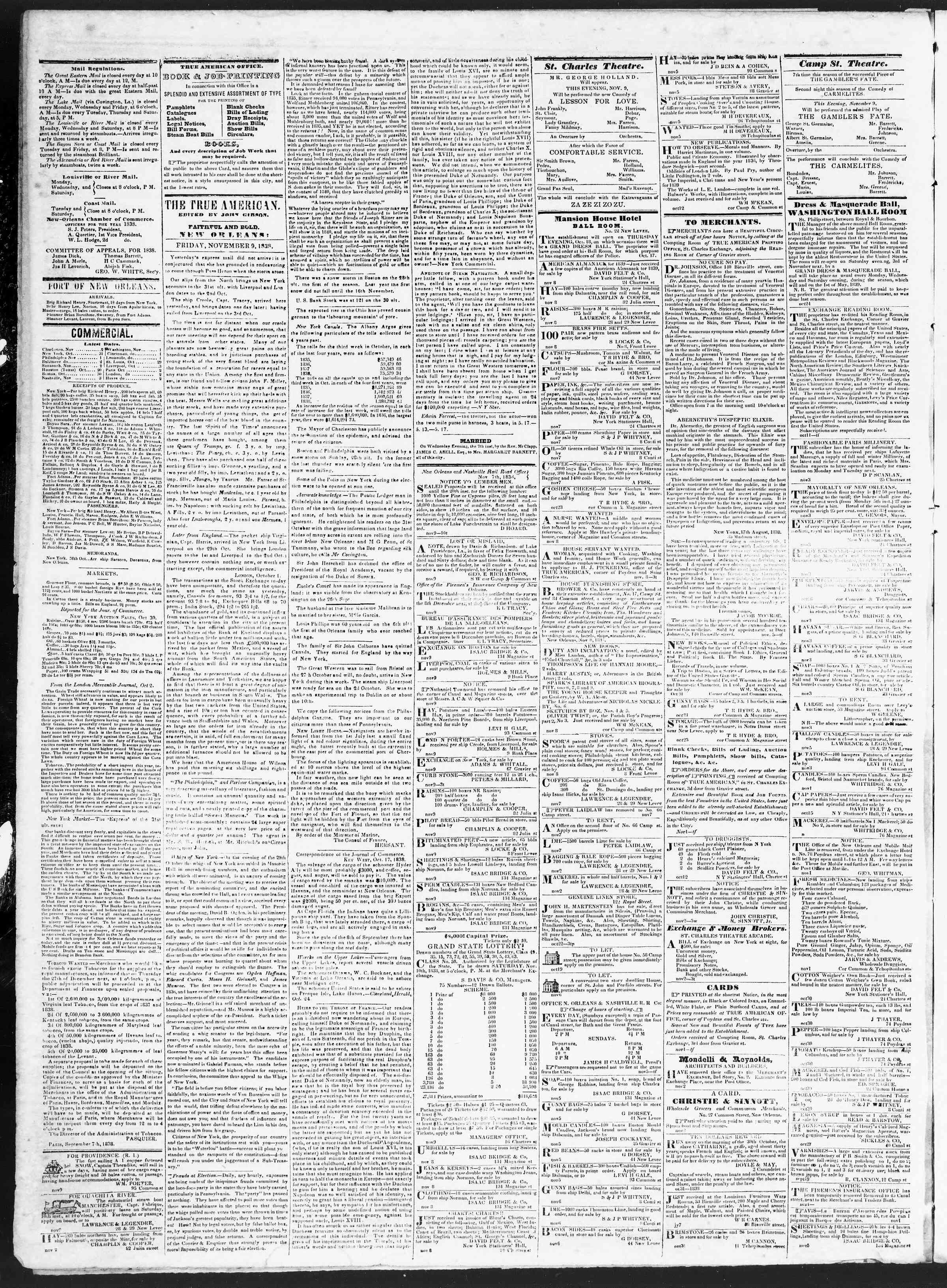 9 Kasım 1838 tarihli True American Gazetesi Sayfa 2