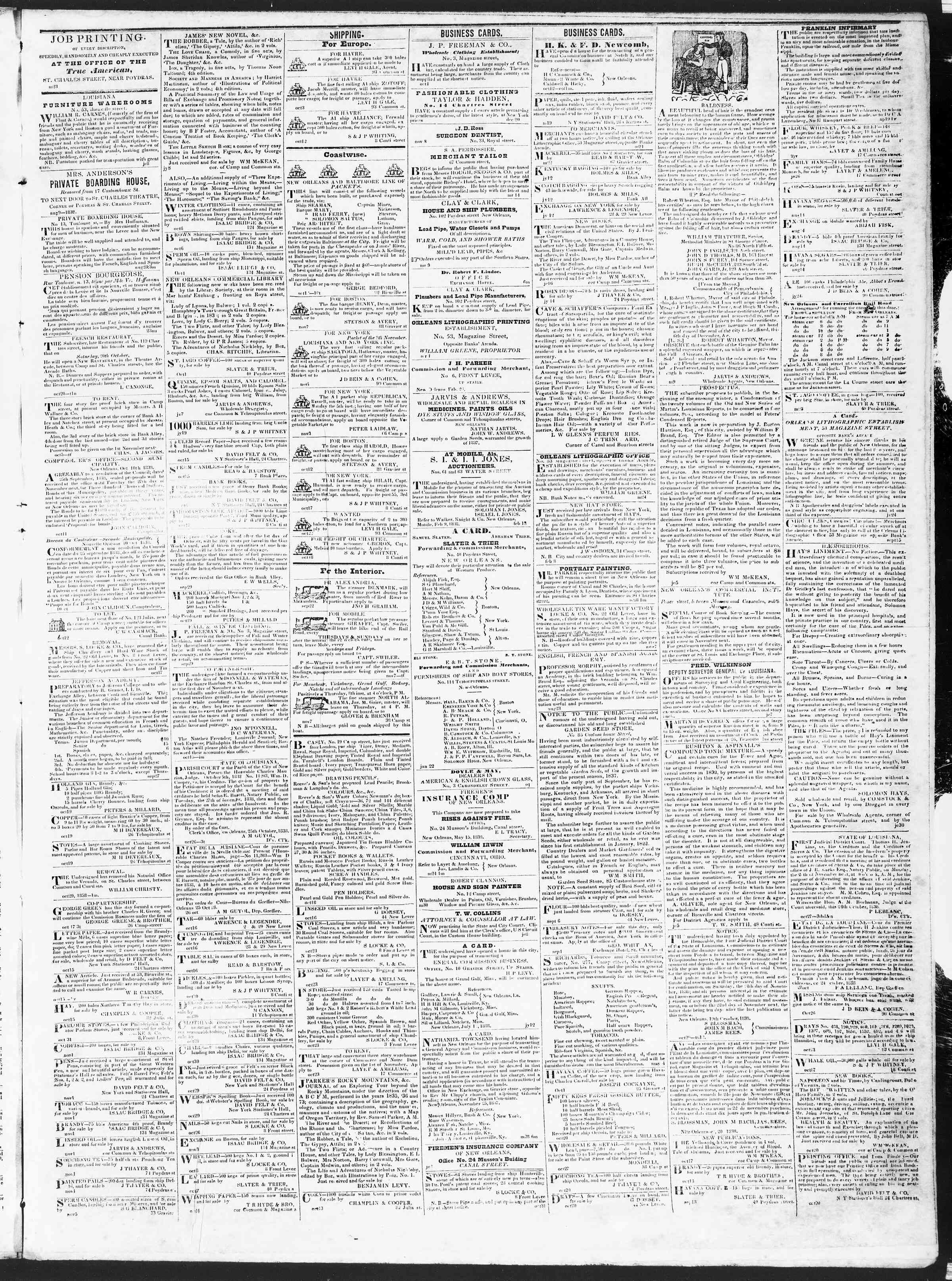 November 10, 1838 Tarihli True American Gazetesi Sayfa 3