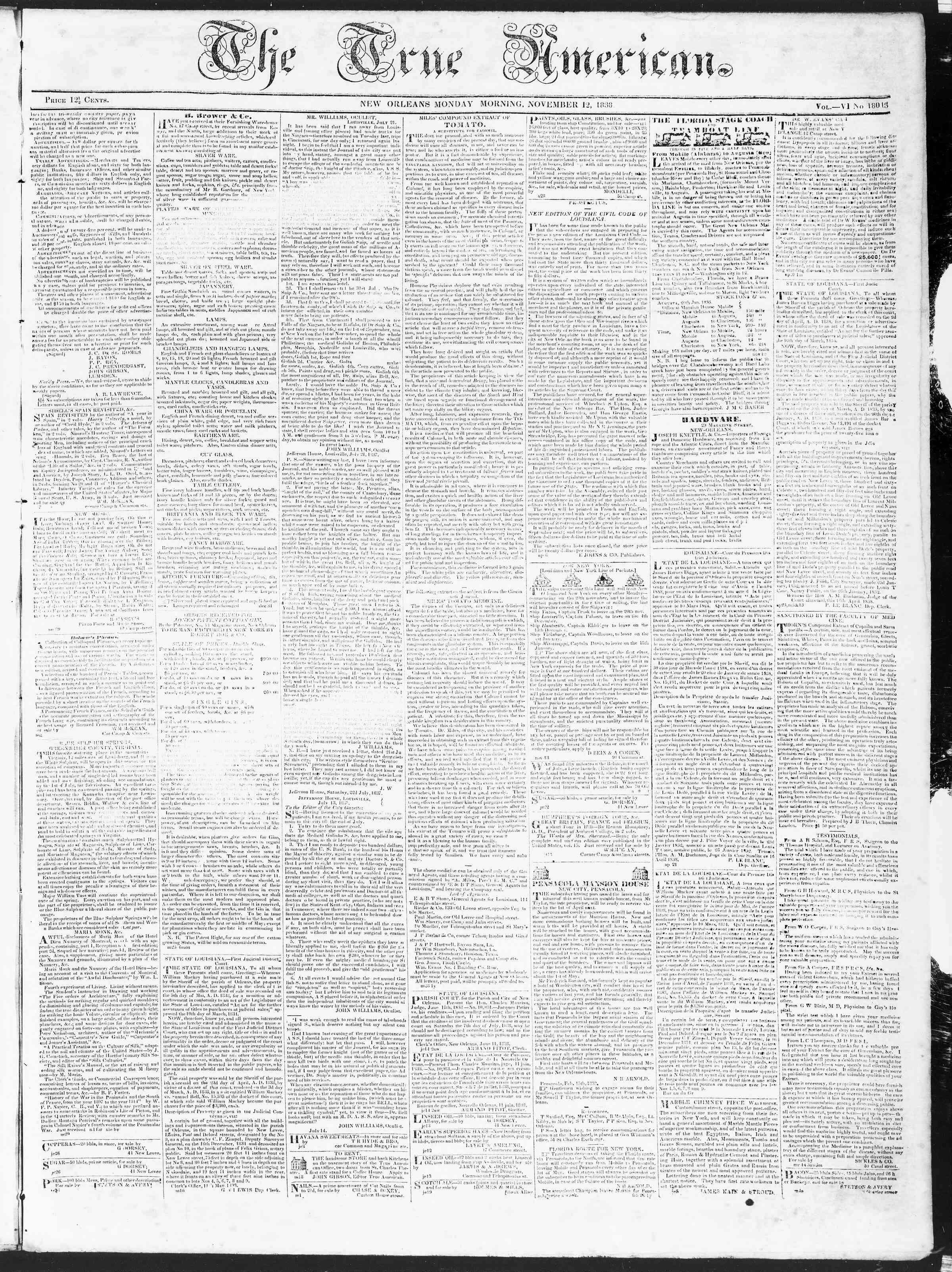 November 12, 1838 Tarihli True American Gazetesi Sayfa 1