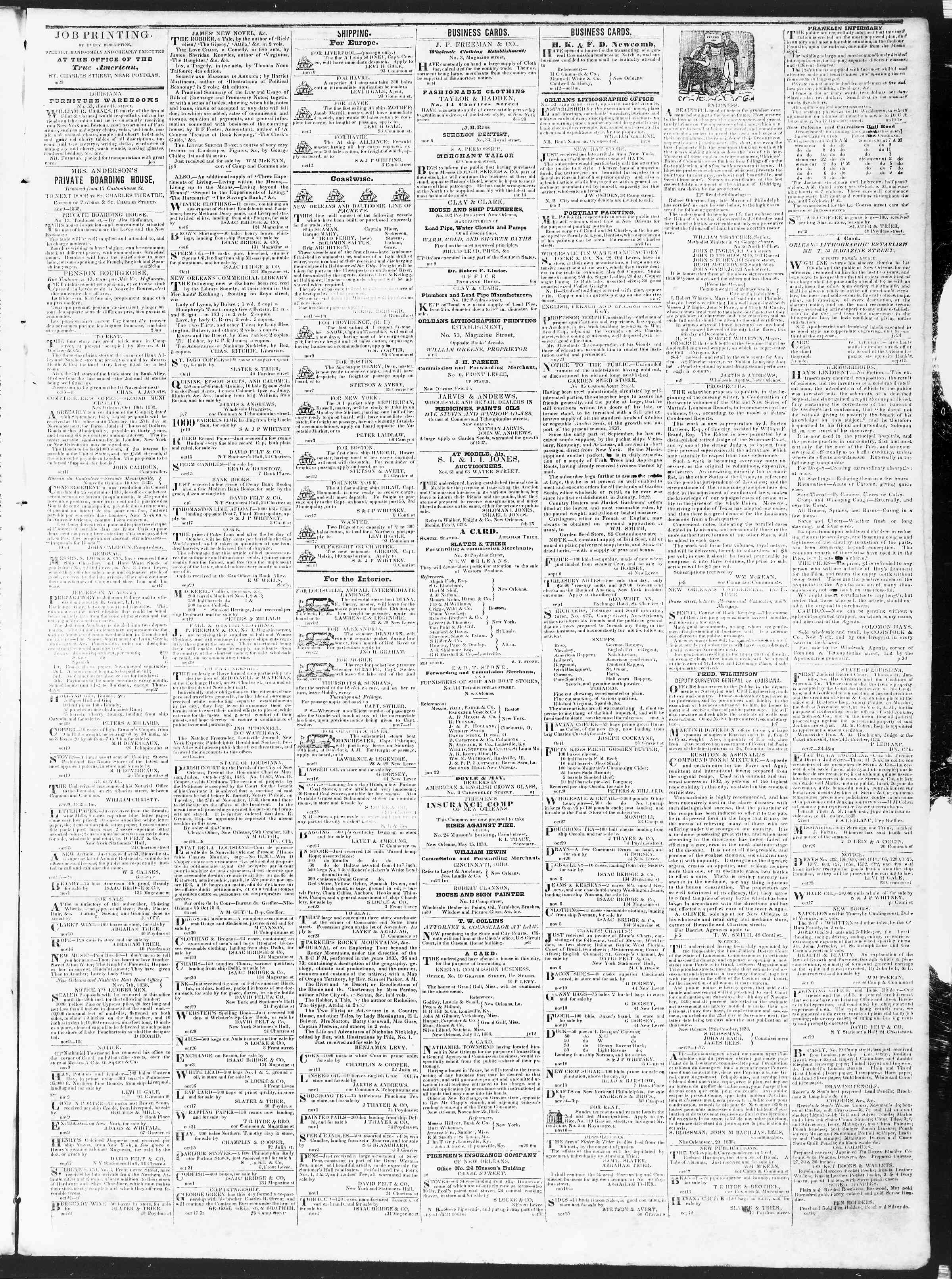 Newspaper of True American dated November 12, 1838 Page 3
