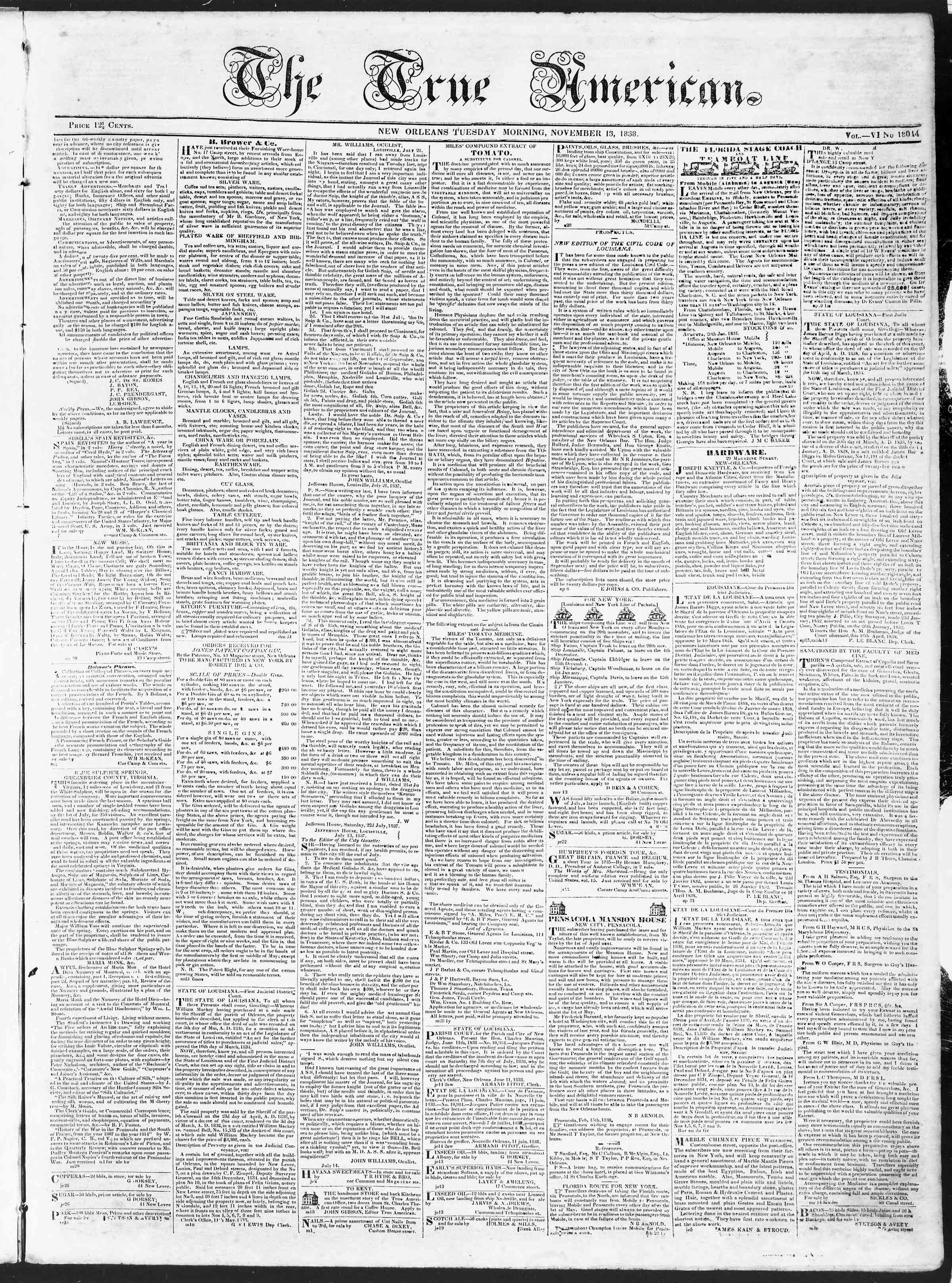 Newspaper of True American dated November 13, 1838 Page 1