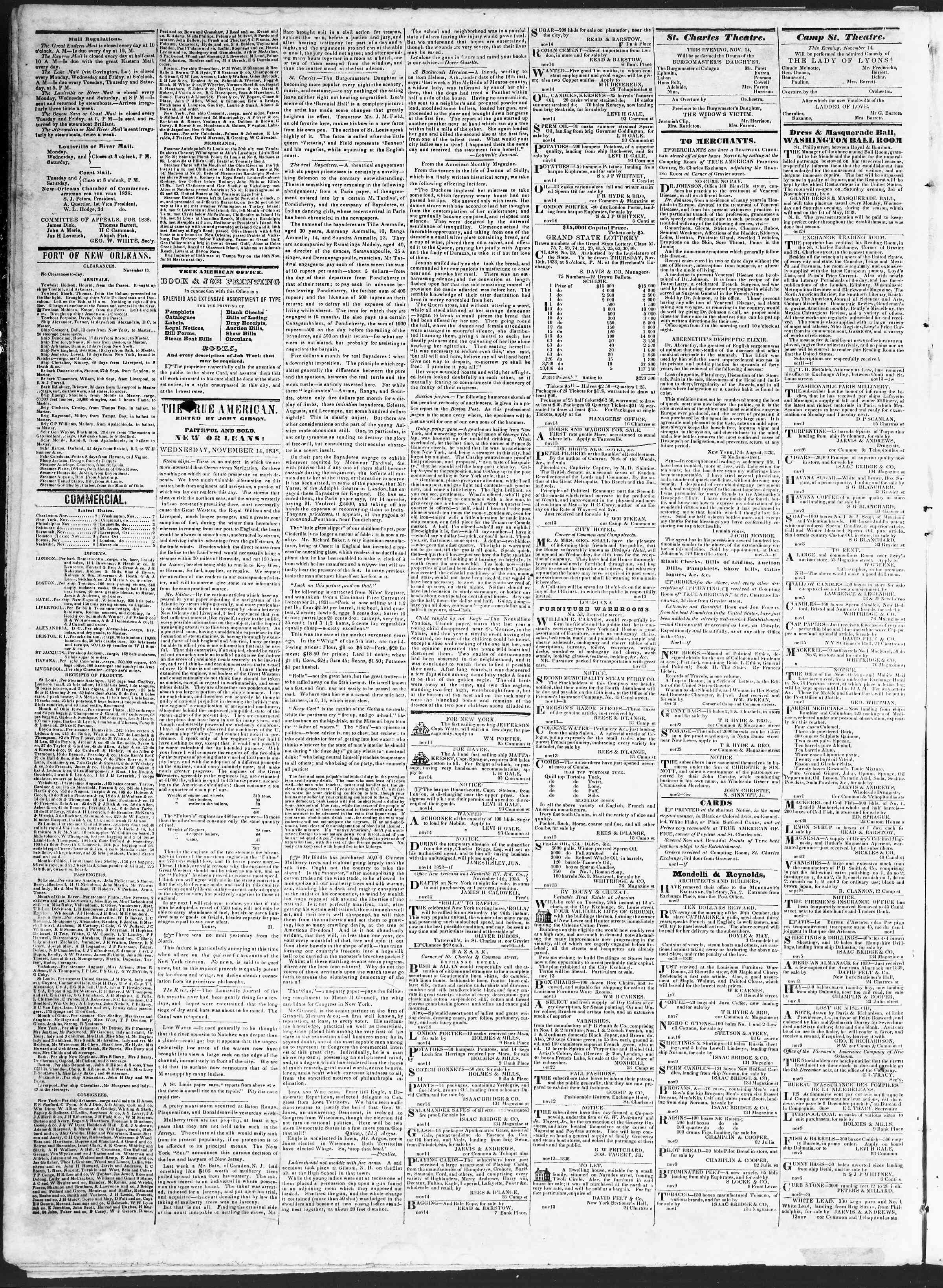 November 14, 1838 Tarihli True American Gazetesi Sayfa 2