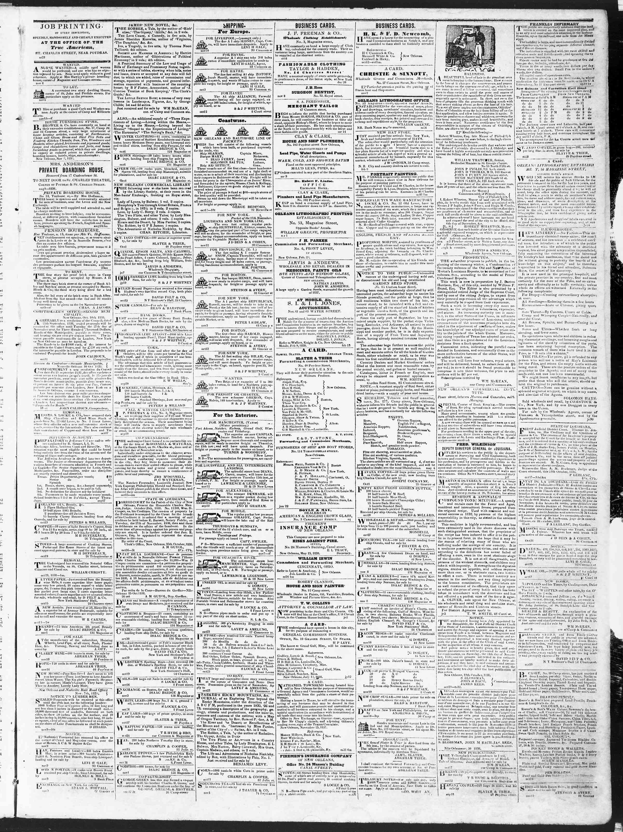 Newspaper of True American dated November 14, 1838 Page 3