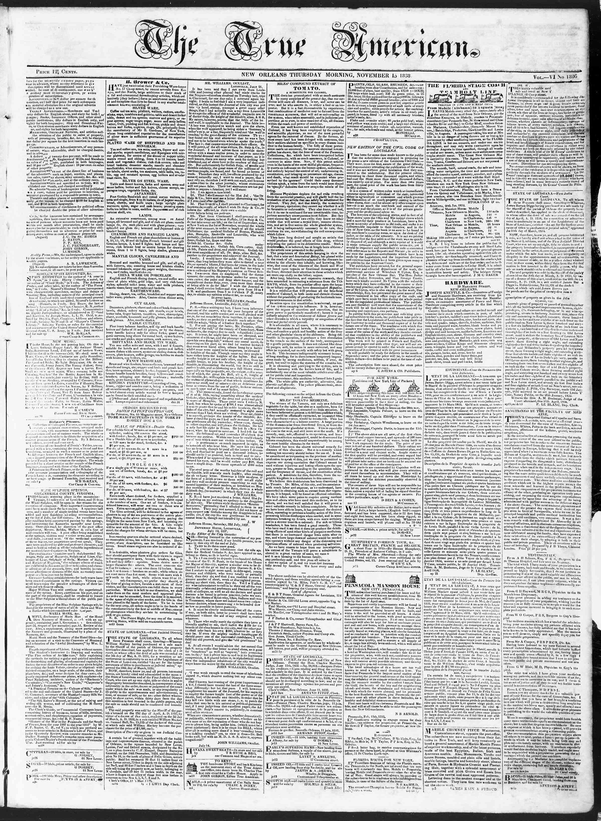 November 15, 1838 Tarihli True American Gazetesi Sayfa 1