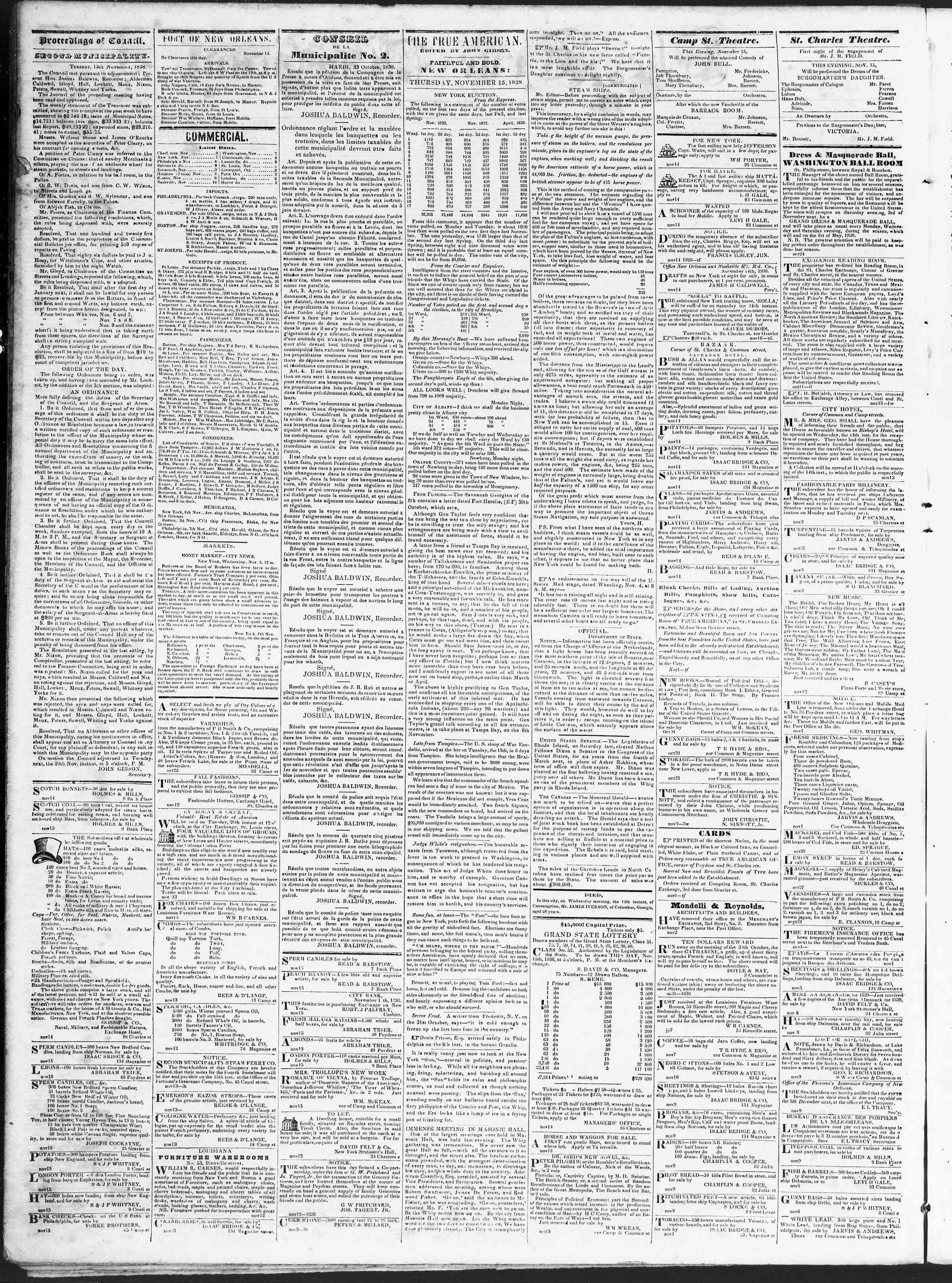 November 15, 1838 Tarihli True American Gazetesi Sayfa 2