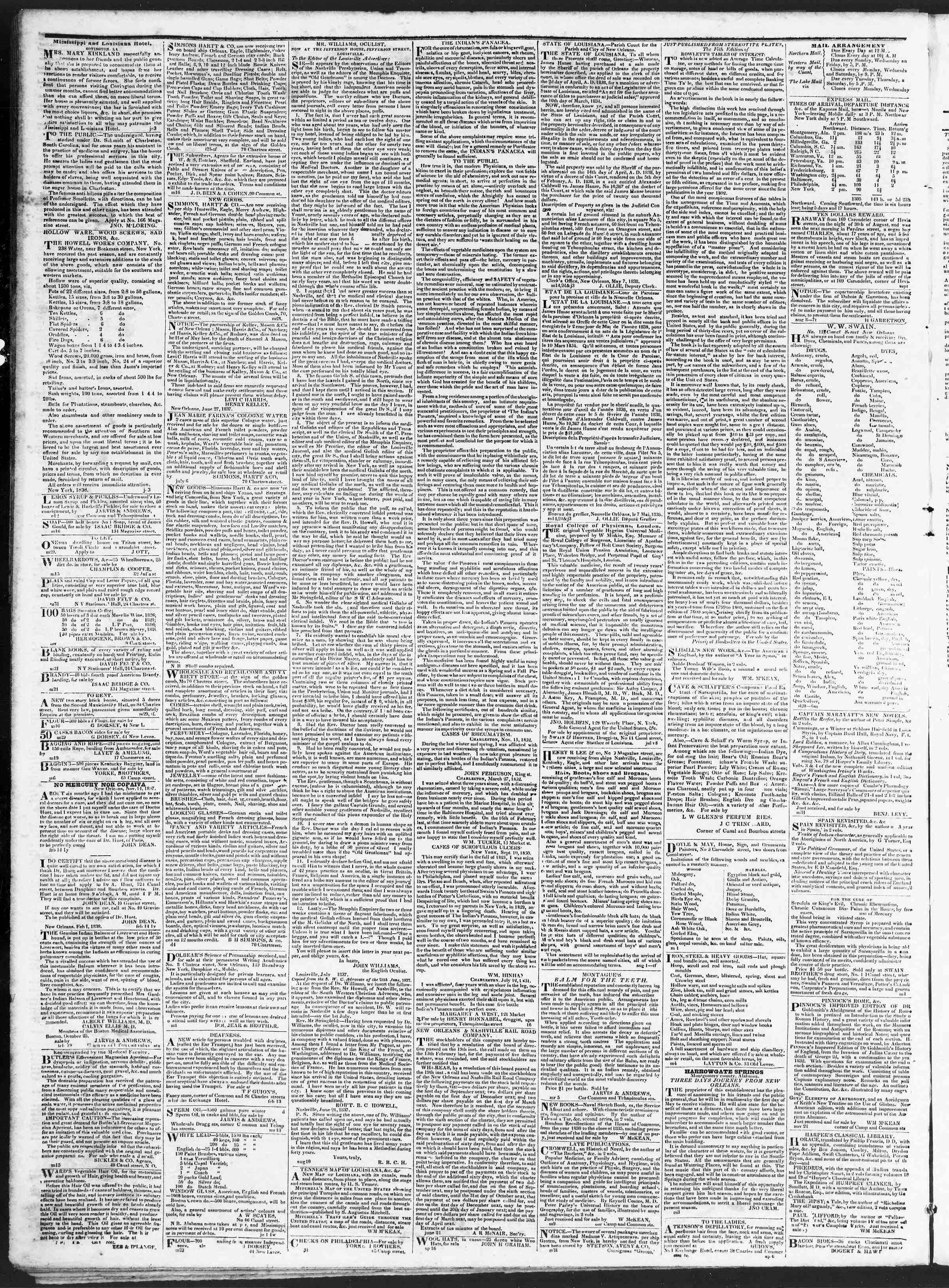 November 15, 1838 Tarihli True American Gazetesi Sayfa 4
