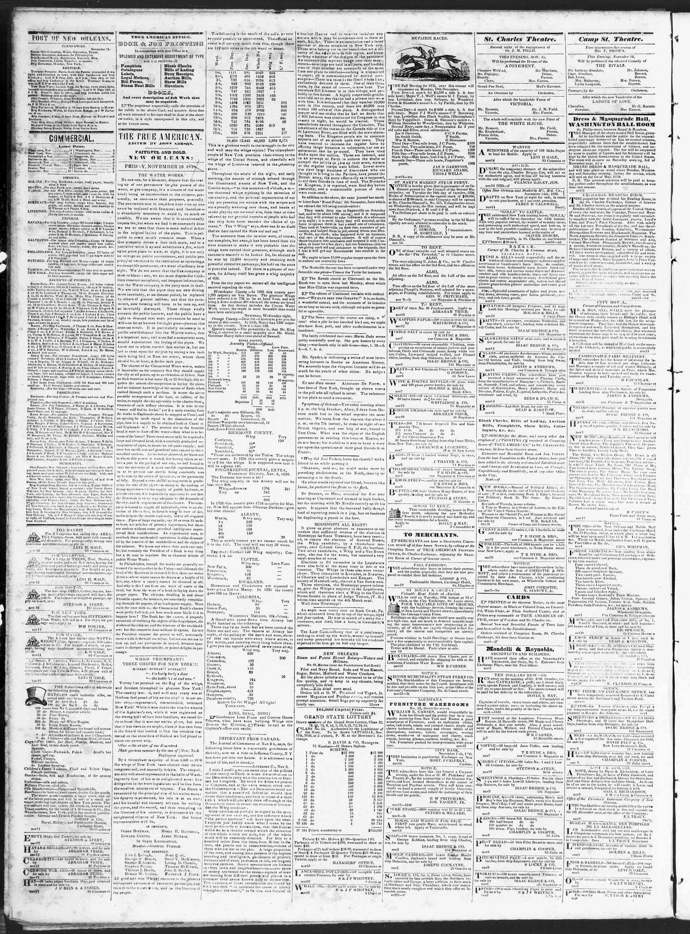 November 16, 1838 Tarihli True American Gazetesi Sayfa 2