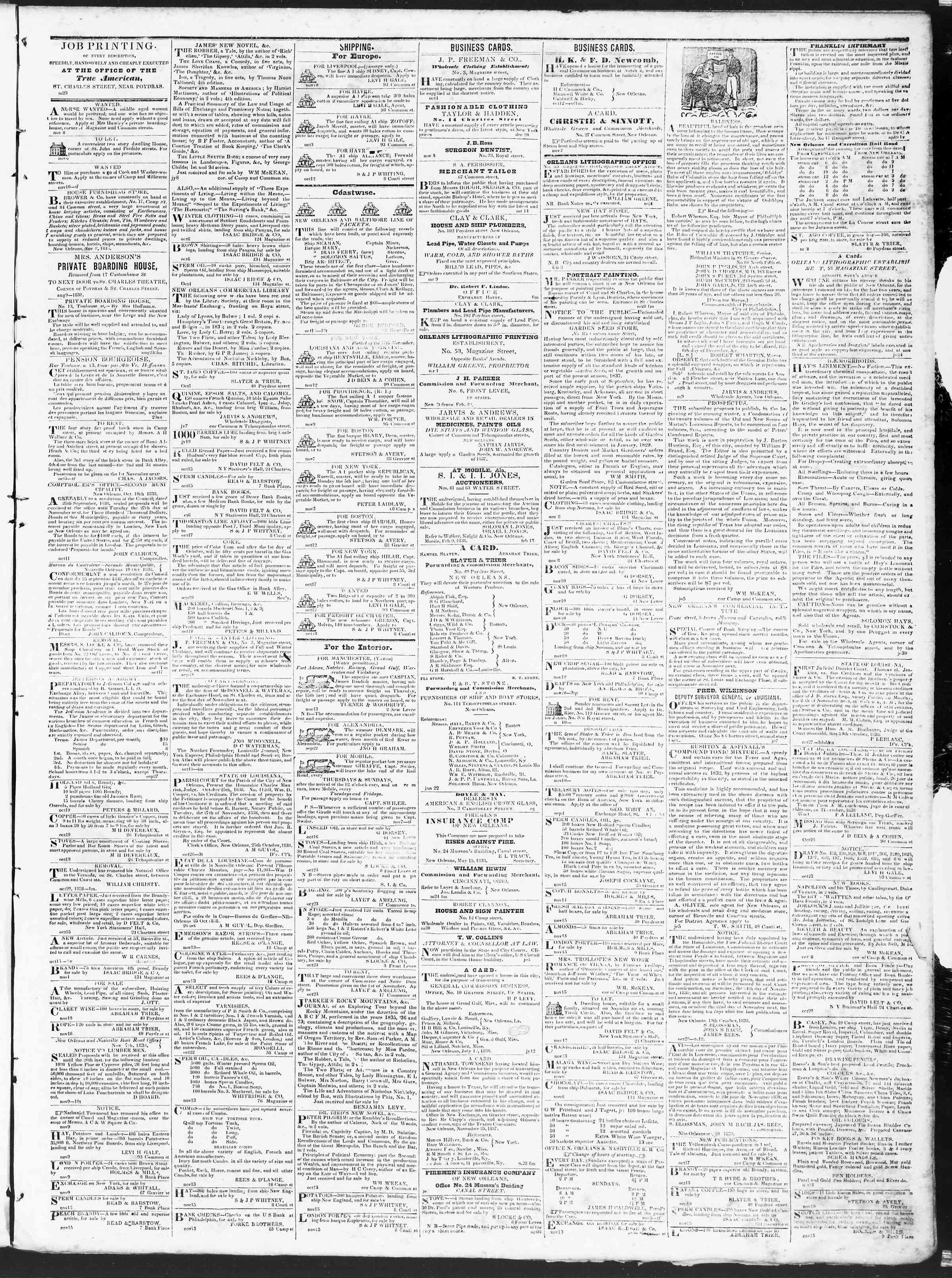 November 16, 1838 Tarihli True American Gazetesi Sayfa 3