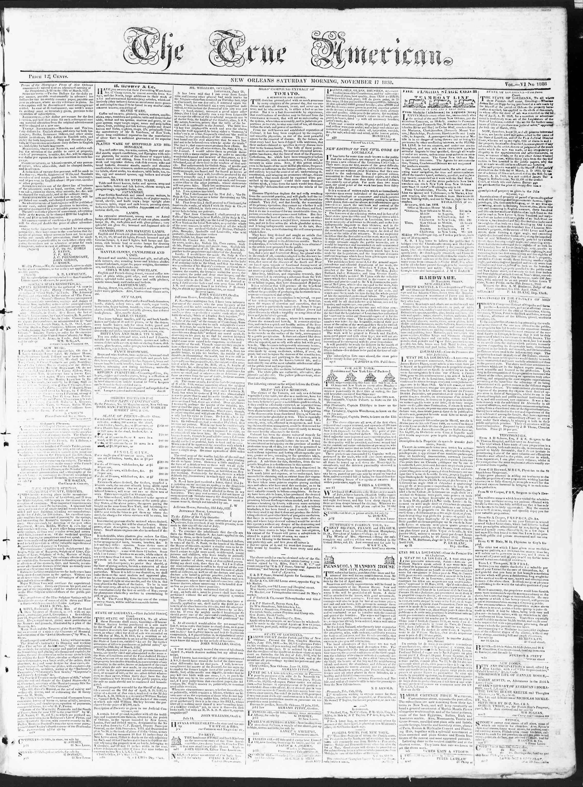 17 Kasım 1838 tarihli True American Gazetesi Sayfa 1