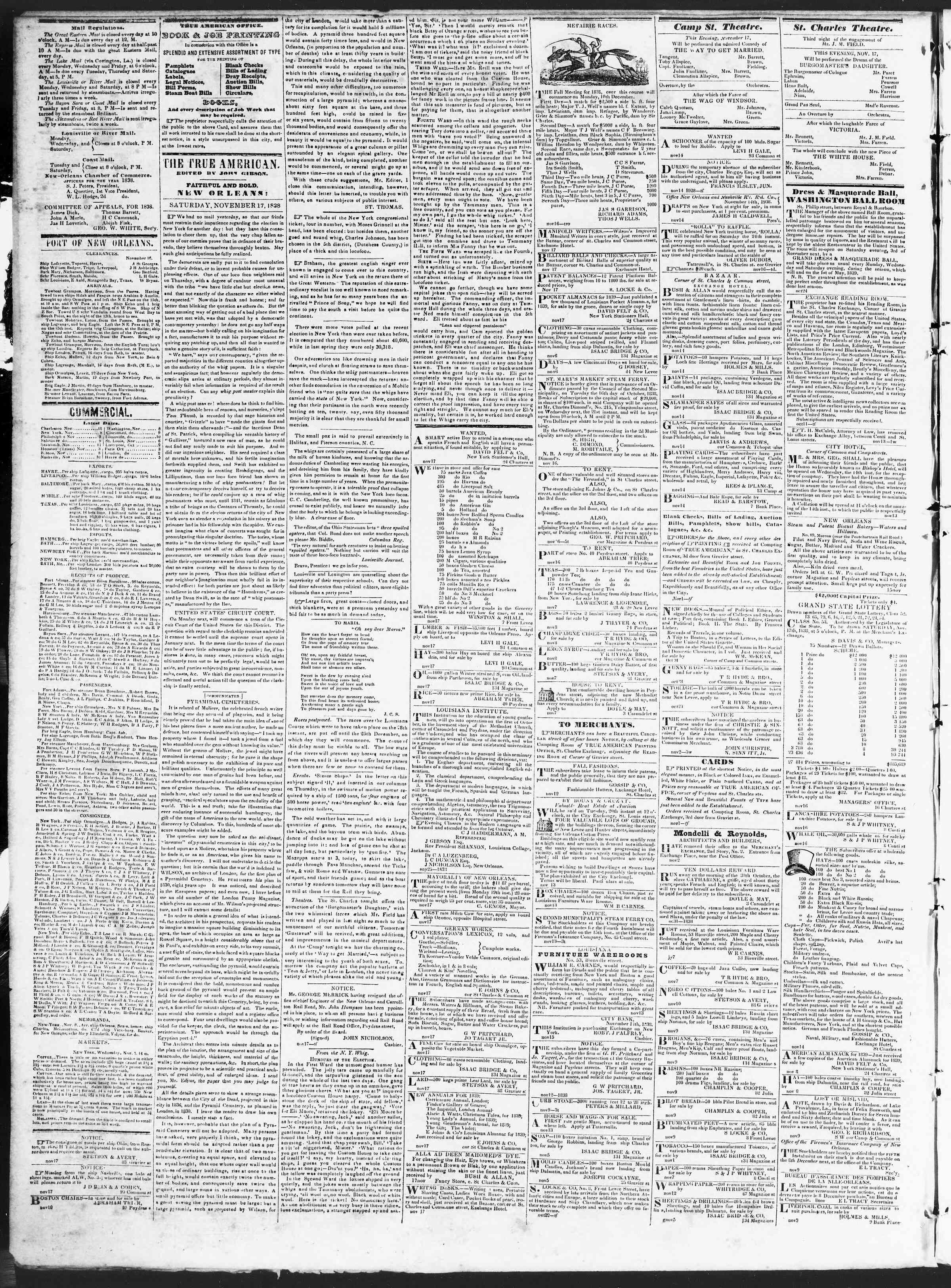 November 17, 1838 Tarihli True American Gazetesi Sayfa 2