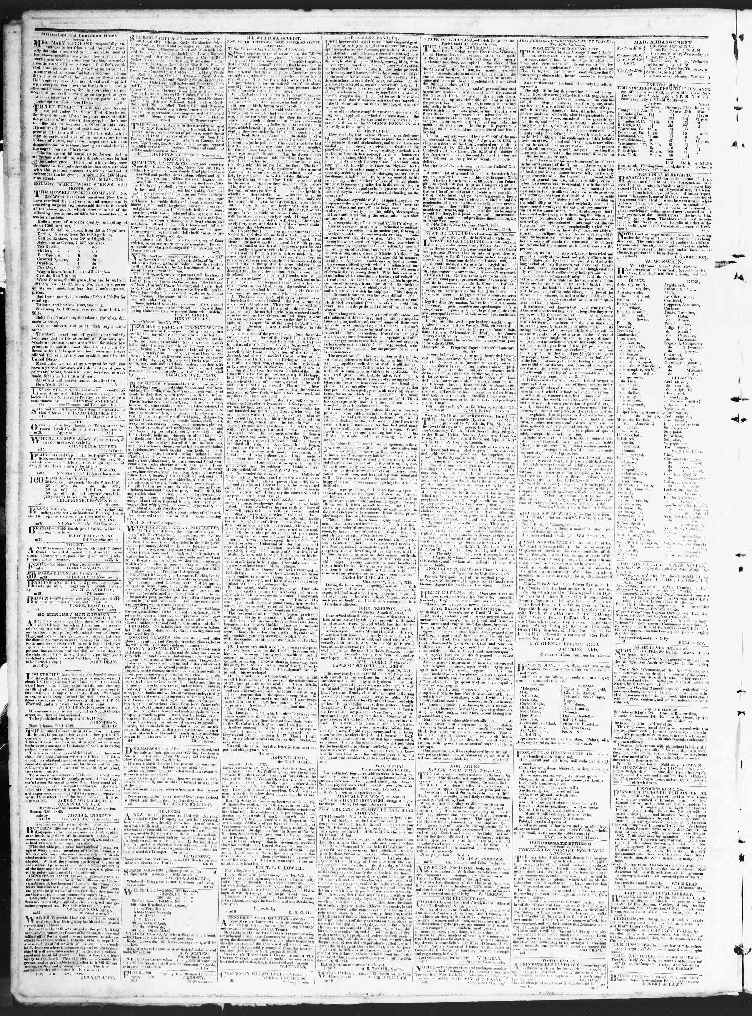 November 17, 1838 Tarihli True American Gazetesi Sayfa 4