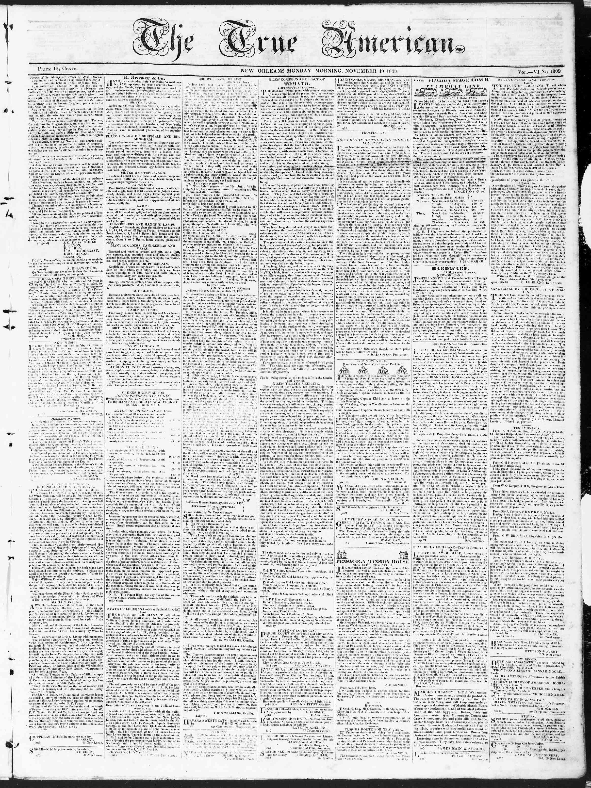 November 19, 1838 Tarihli True American Gazetesi Sayfa 1