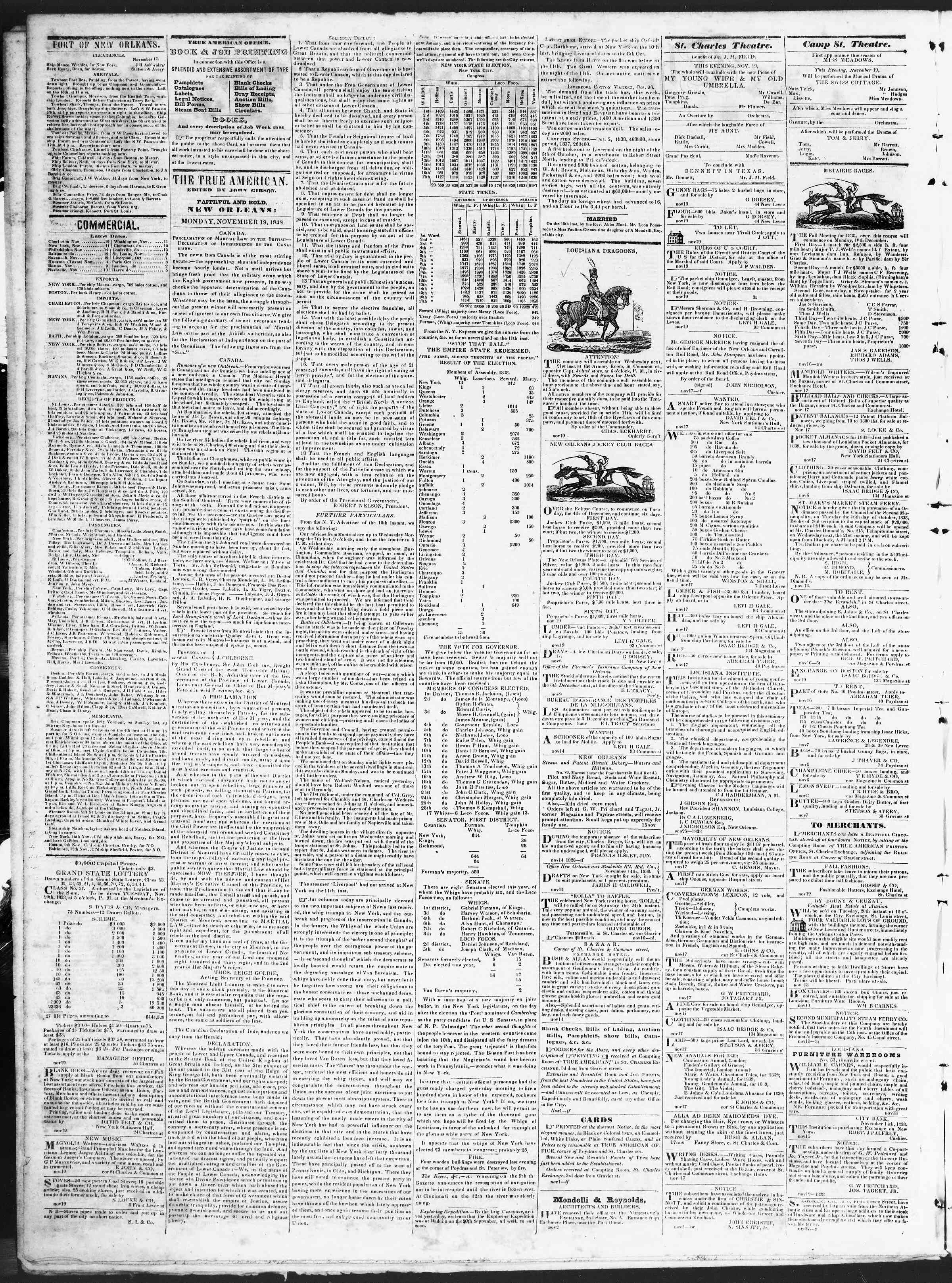 Newspaper of True American dated November 19, 1838 Page 2