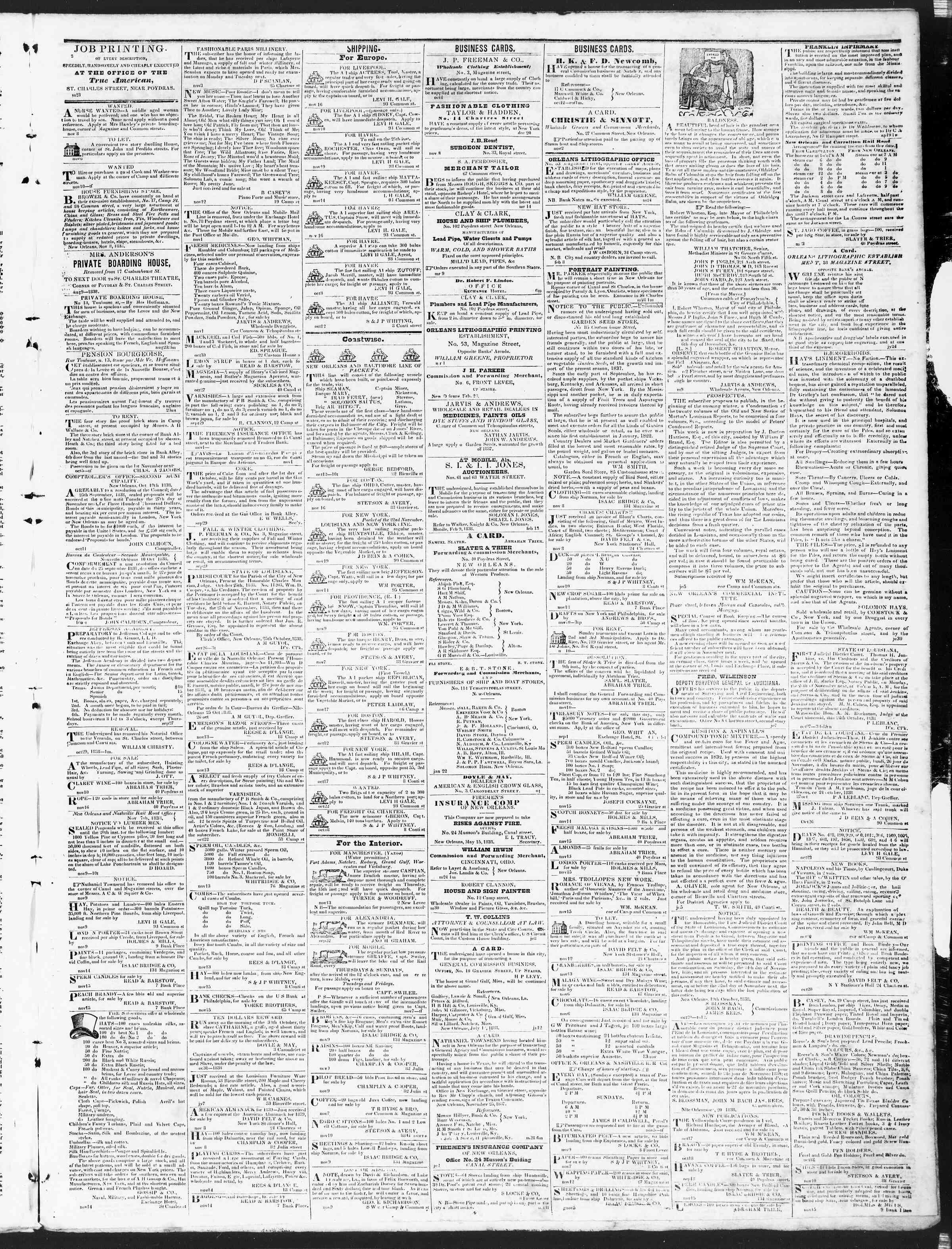 November 19, 1838 Tarihli True American Gazetesi Sayfa 3