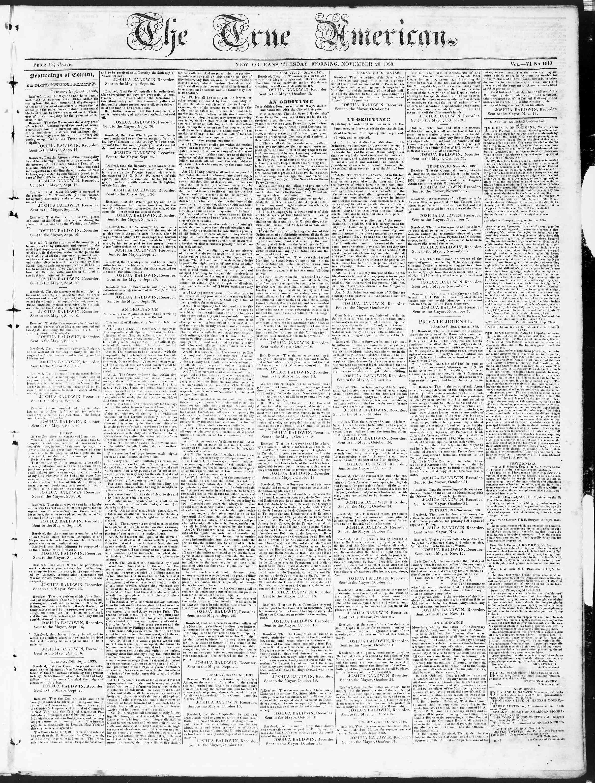 Newspaper of True American dated November 20, 1838 Page 1
