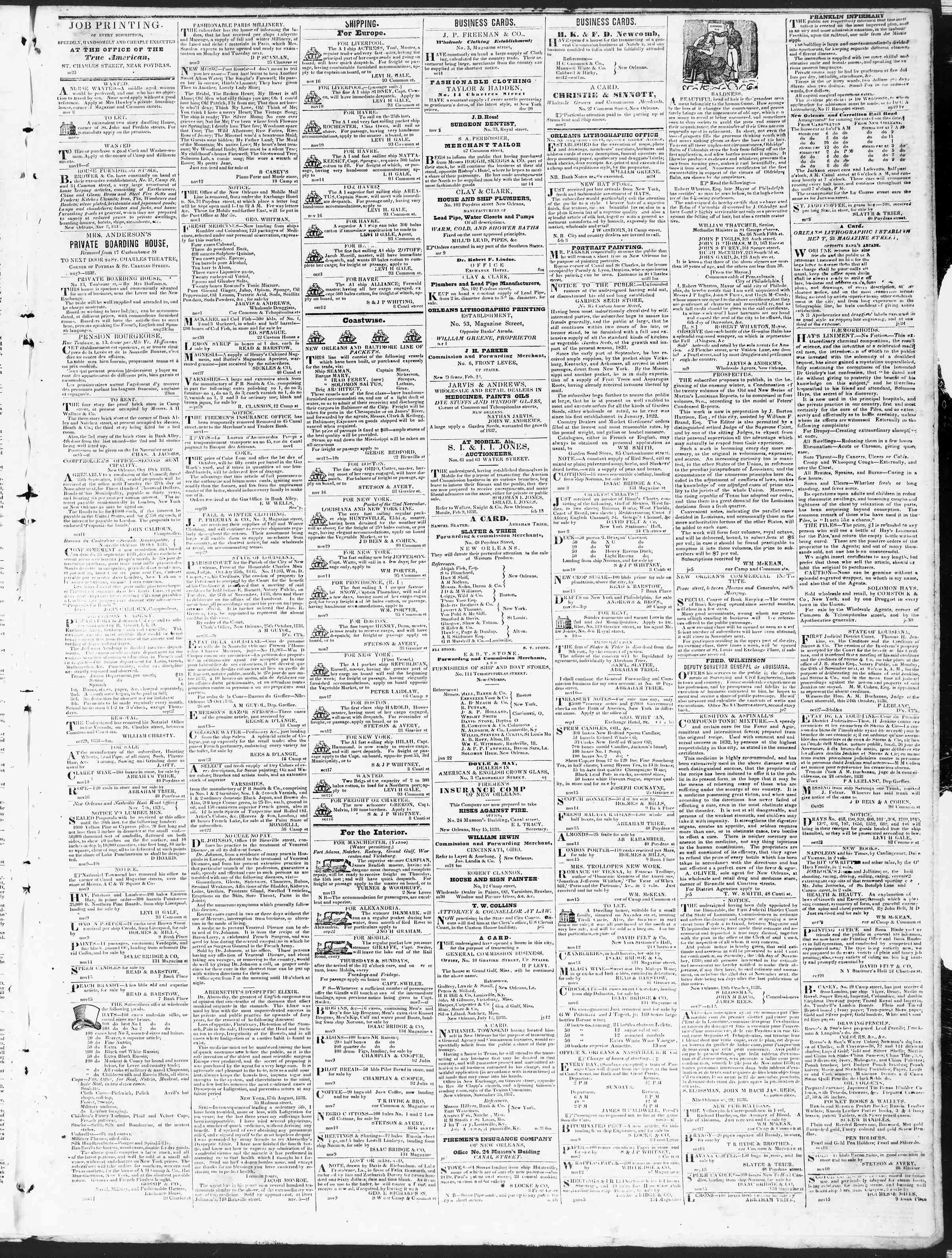 Newspaper of True American dated November 20, 1838 Page 3