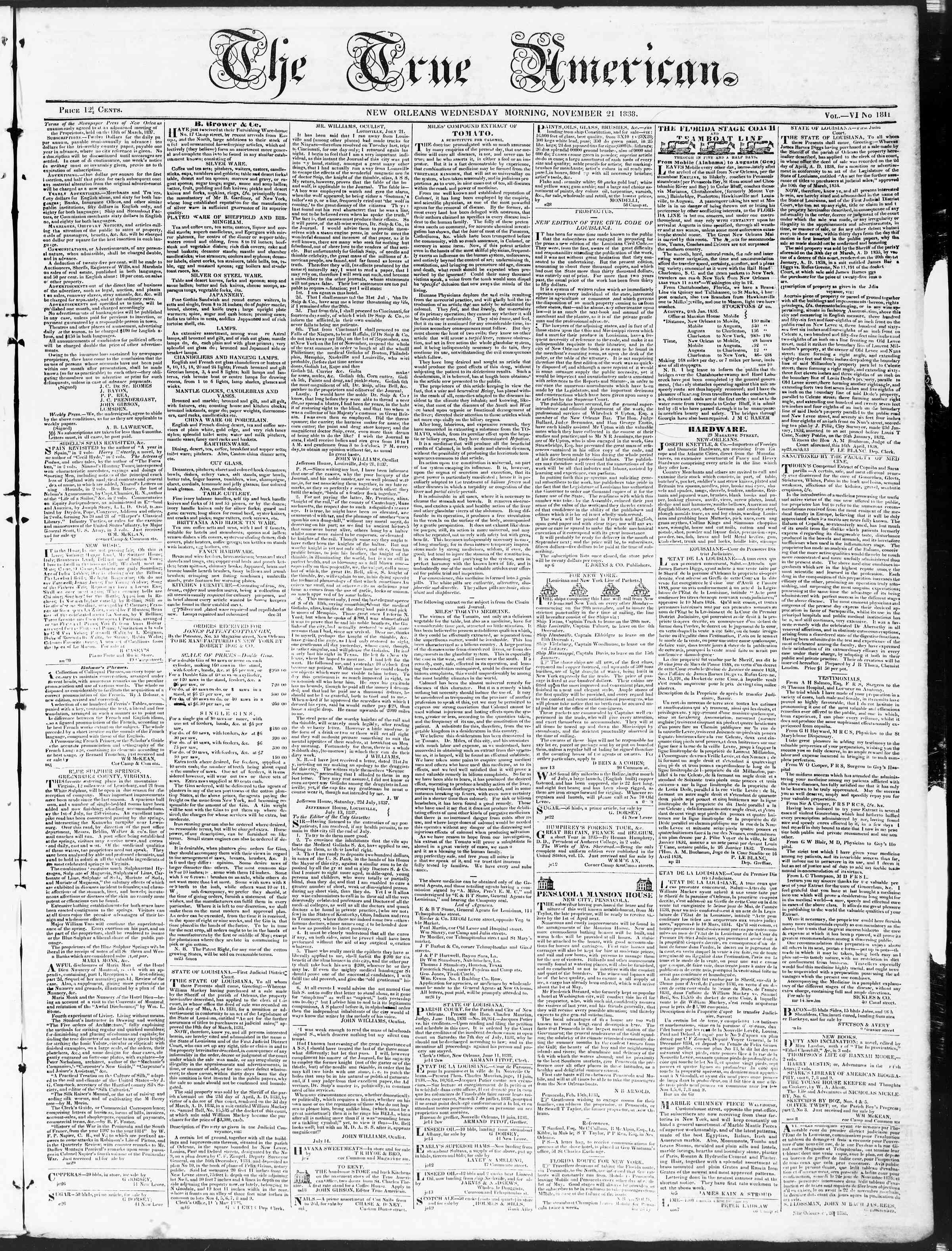 November 21, 1838 Tarihli True American Gazetesi Sayfa 1