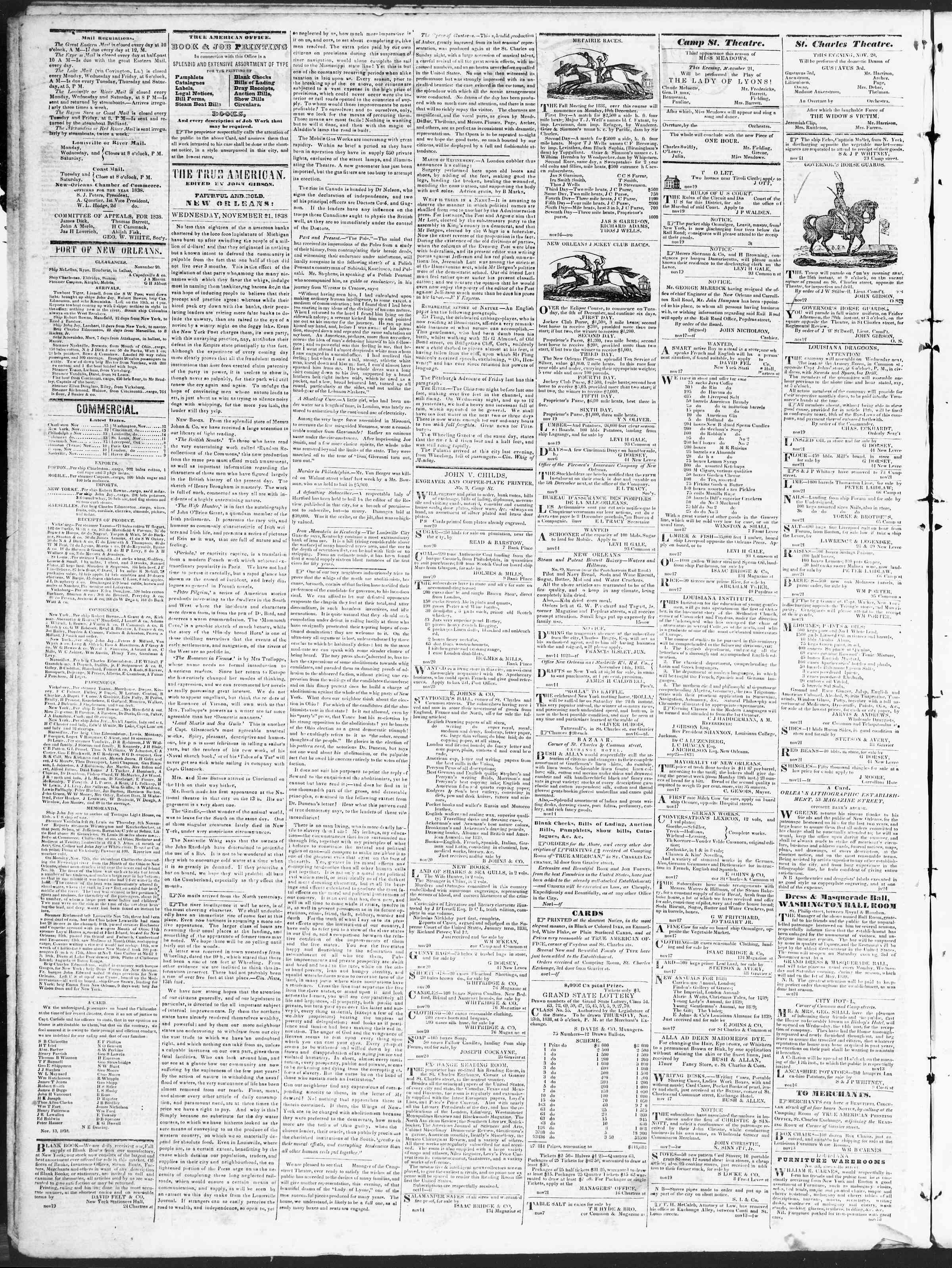 November 21, 1838 Tarihli True American Gazetesi Sayfa 2