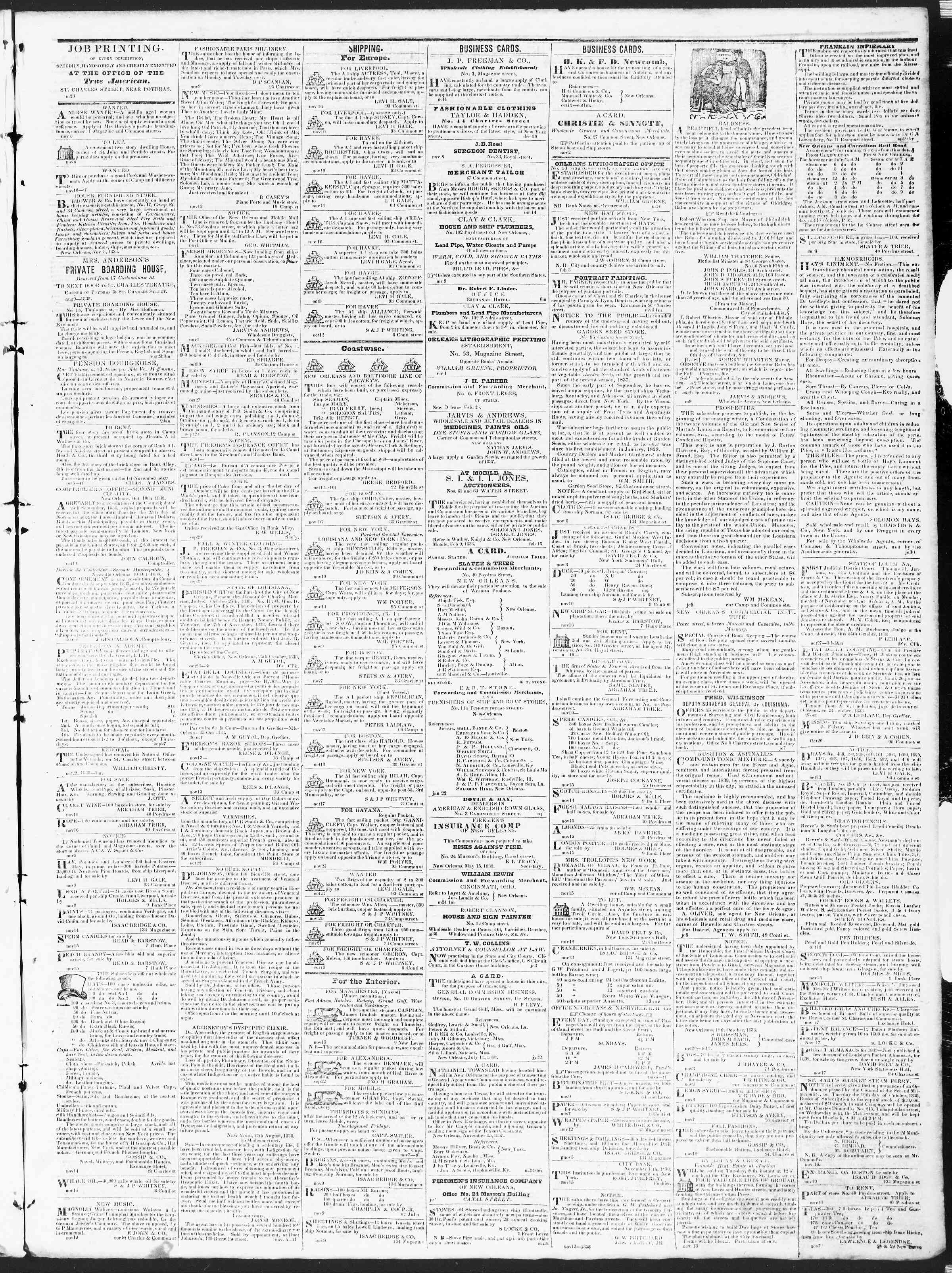 Newspaper of True American dated November 21, 1838 Page 3