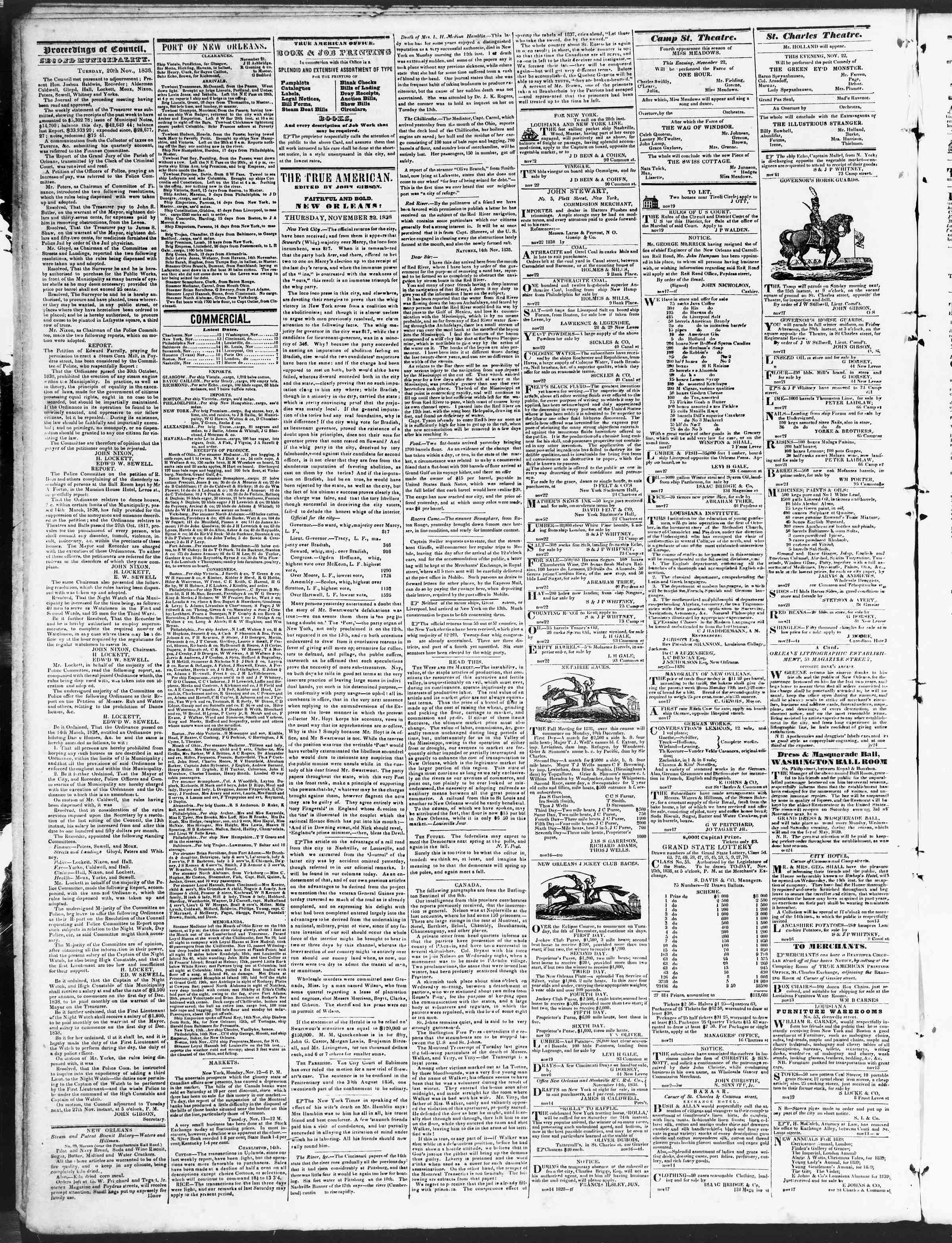 November 22, 1838 Tarihli True American Gazetesi Sayfa 2