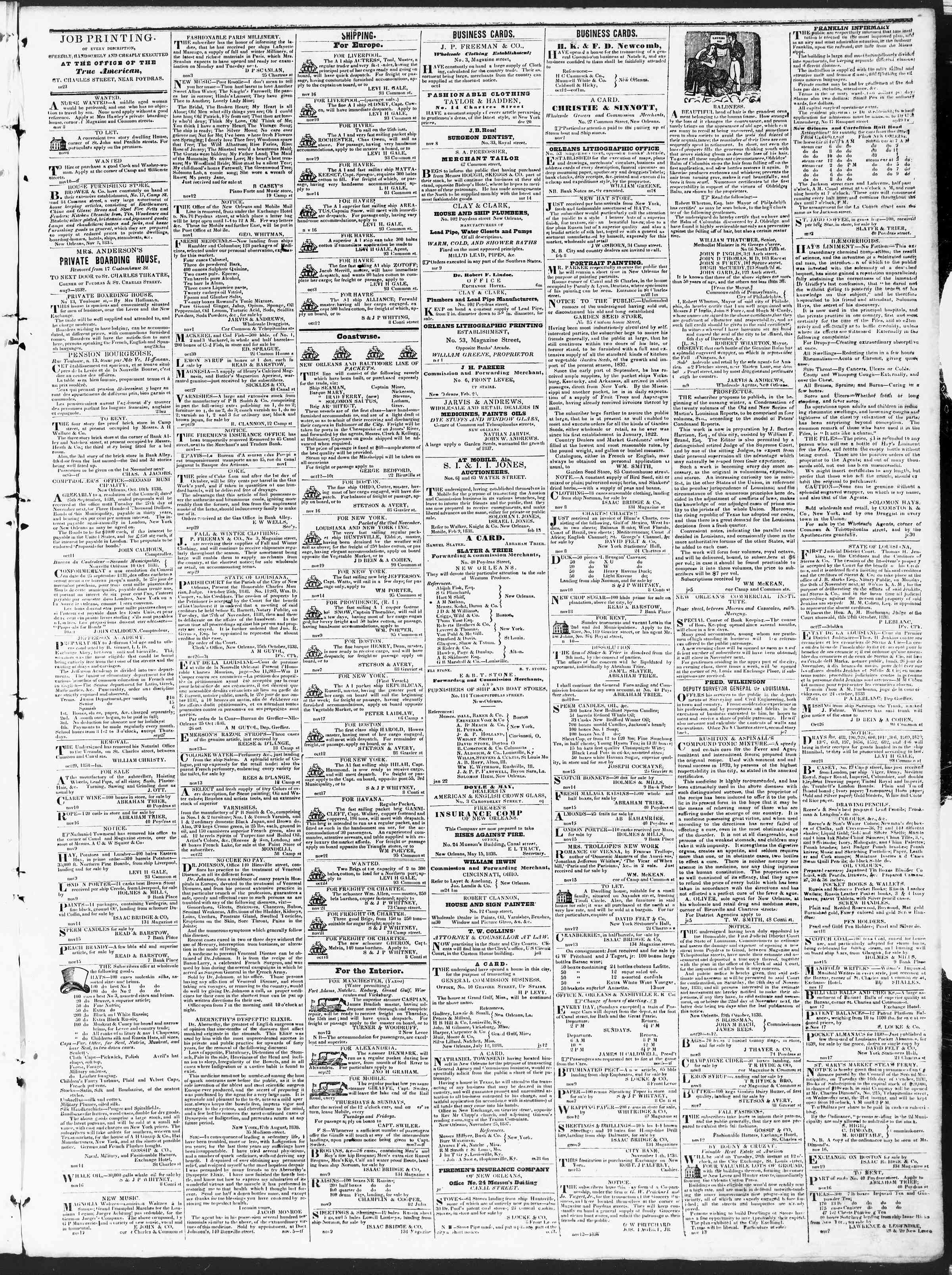 Newspaper of True American dated November 22, 1838 Page 3