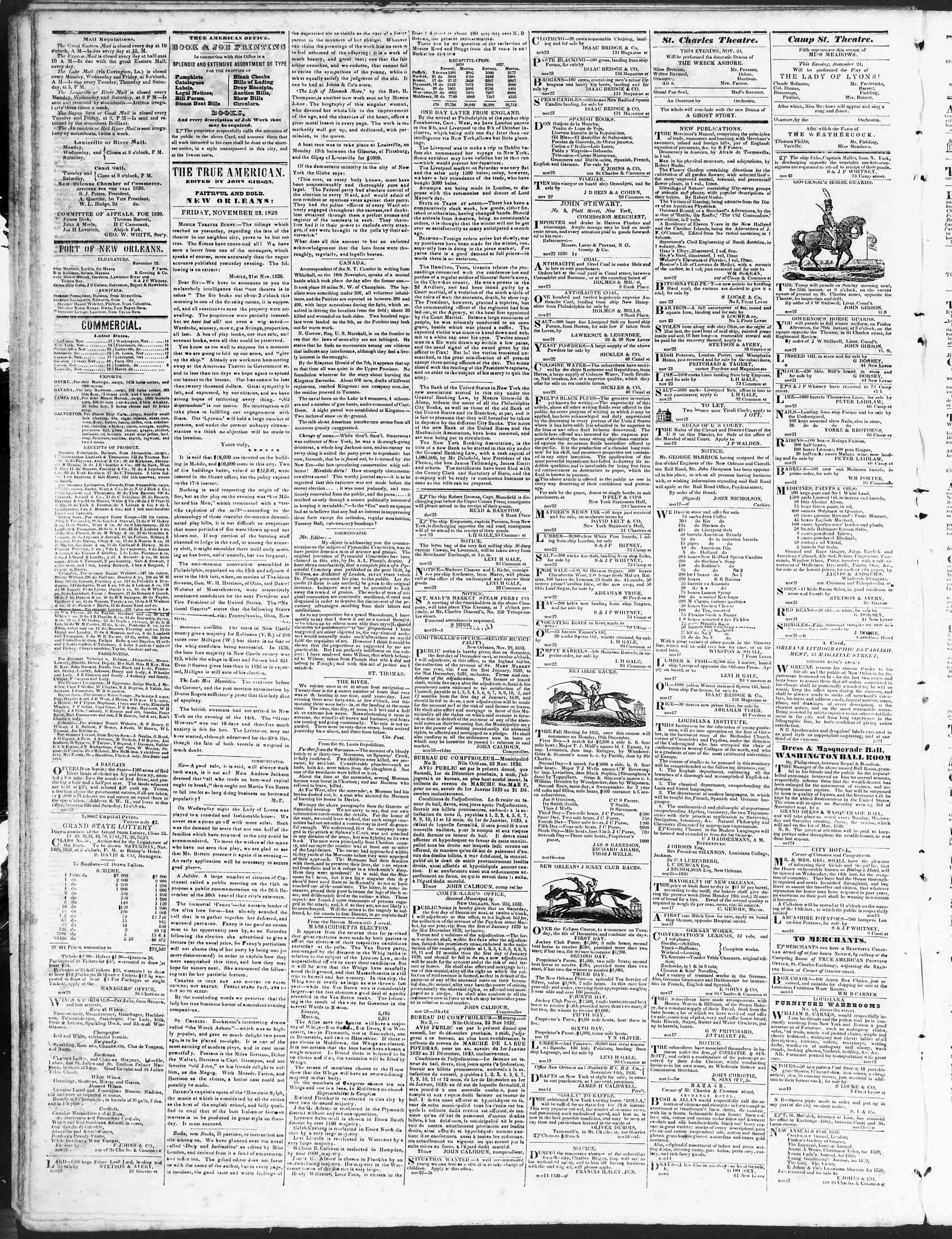 November 23, 1838 Tarihli True American Gazetesi Sayfa 2